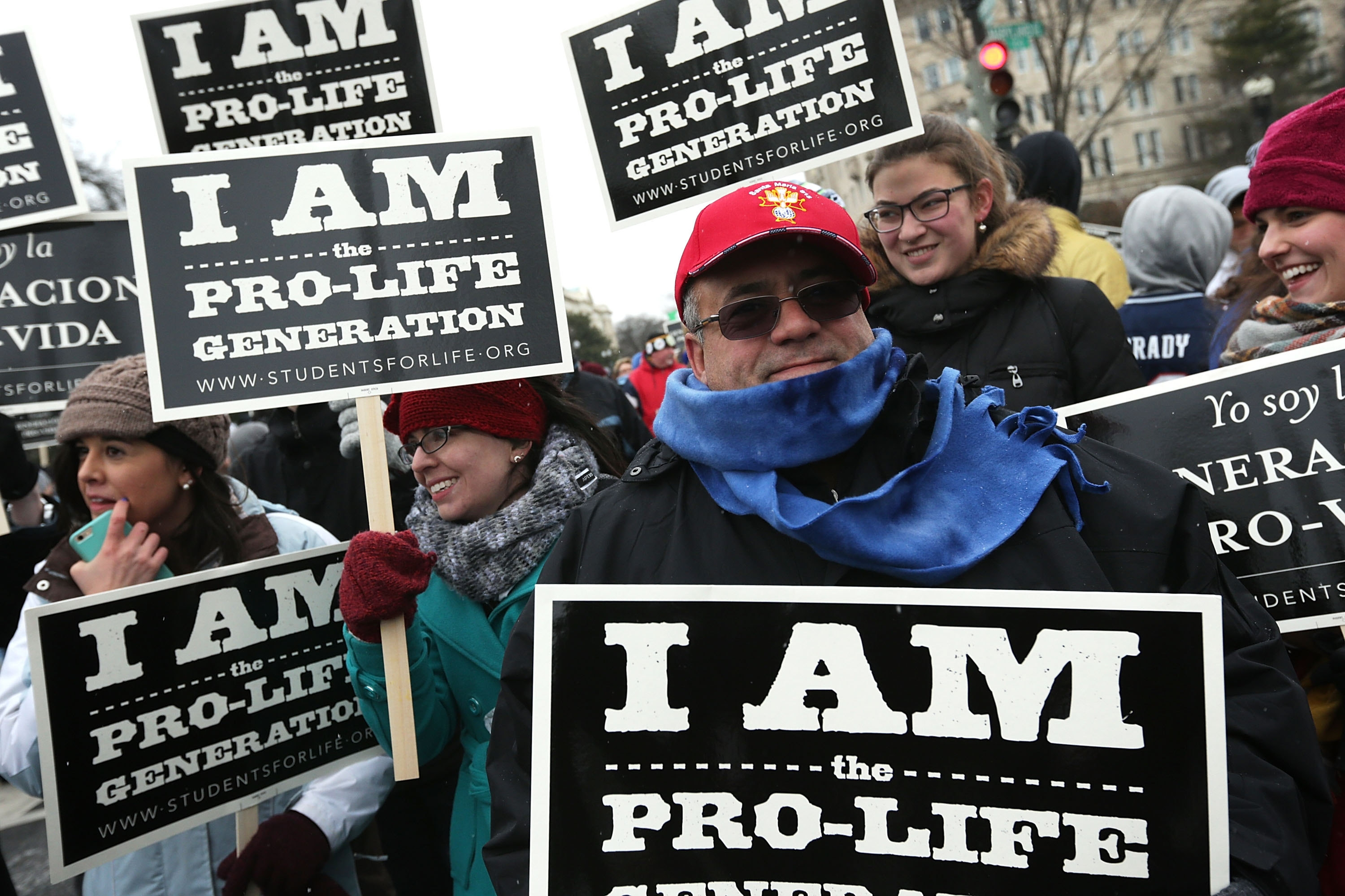 "Activists participate in the ""March for Life"" Friday in Washington, D.C. A contingent of marchers from Buffalo cut their trip short in response to blizzard warnings."