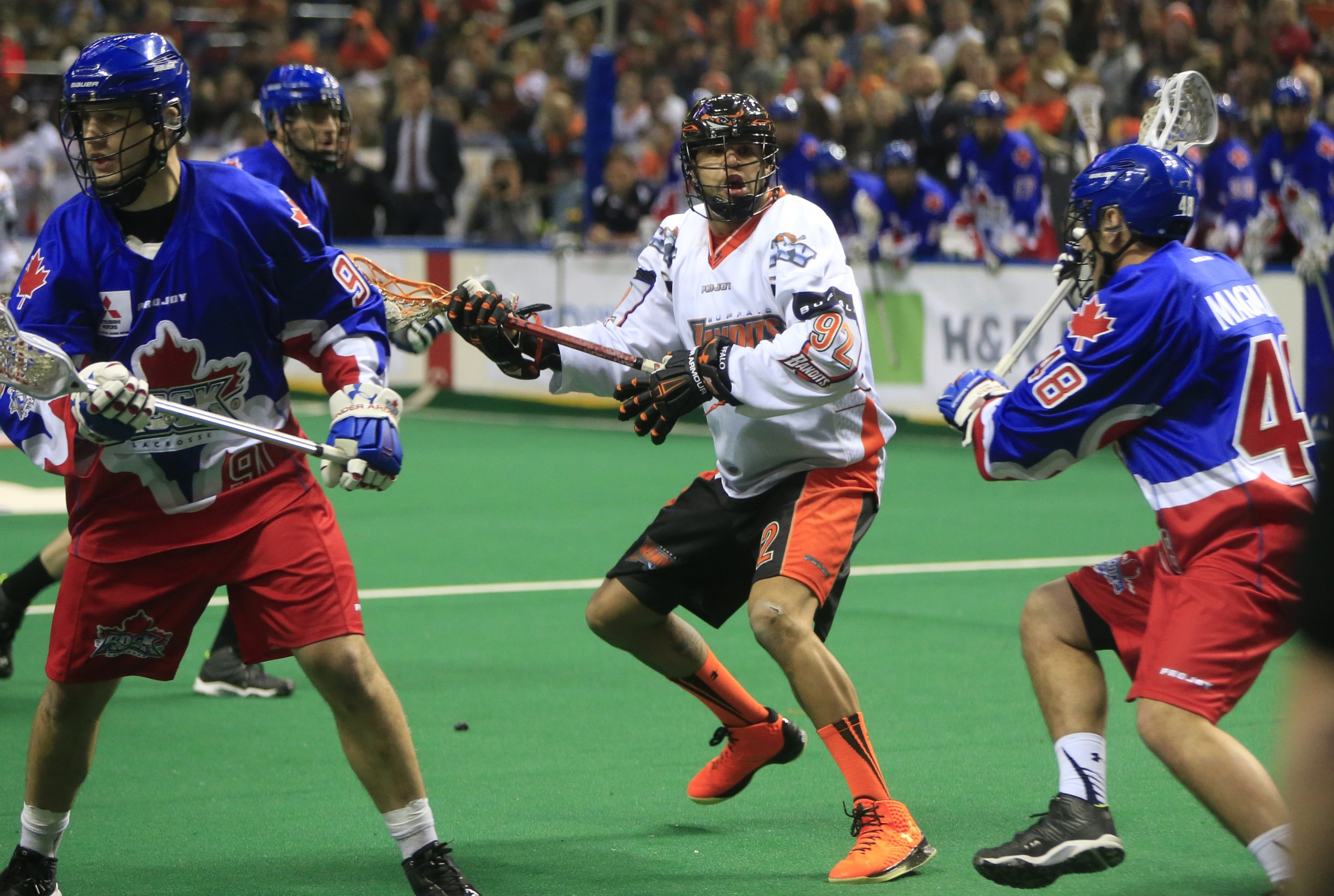 Dhane Smith looks to pass during the Bandits' 12-6 victory over Toronto.