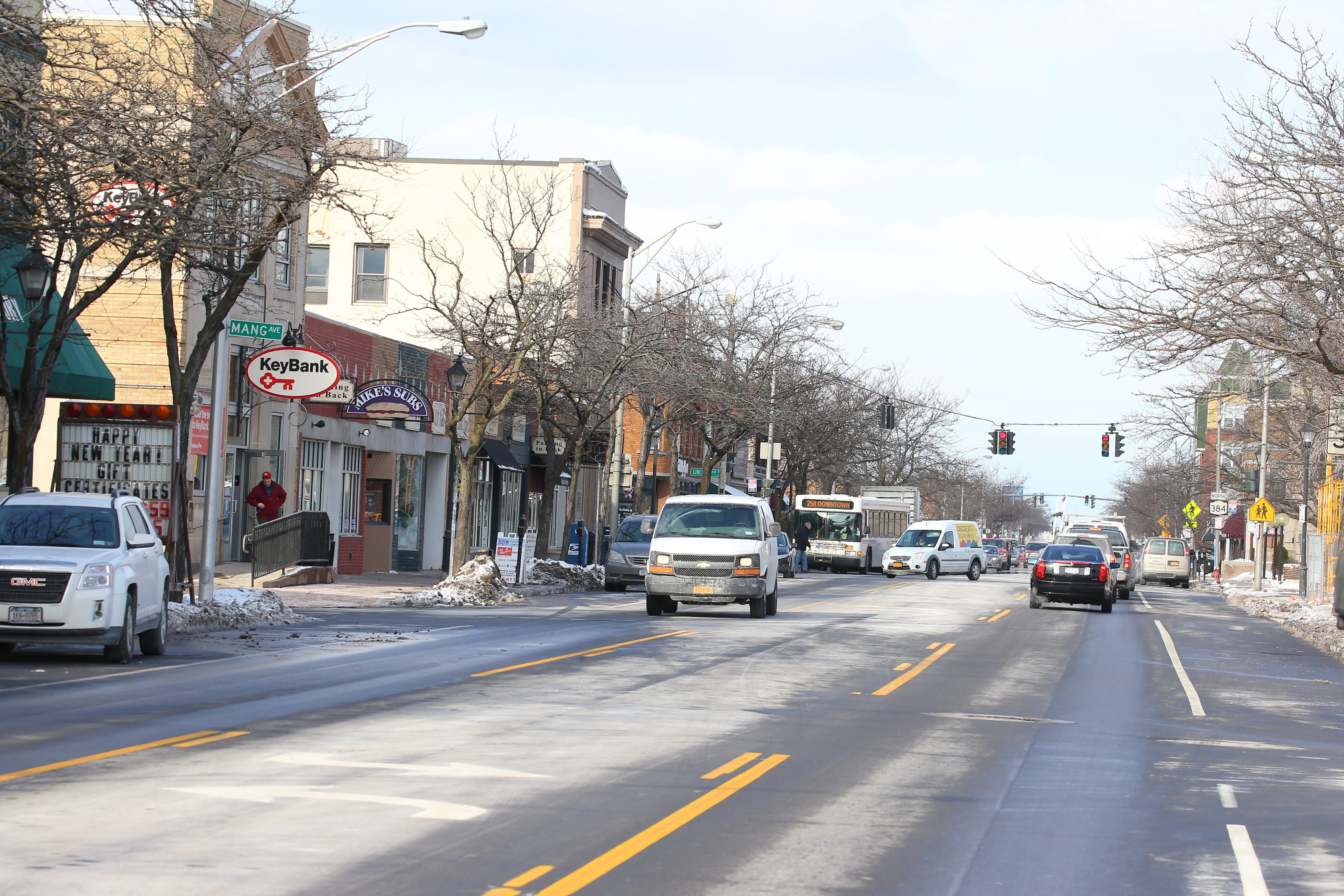Traffic accidents on Delaware Avenue between Kenmore and Pullman avenues in the Village of Kenmore have risen sharply since the number of lanes was reduced from four to two. In the village as a whole, there were 252 accidents last year, more than a quarter of them on Delaware.
