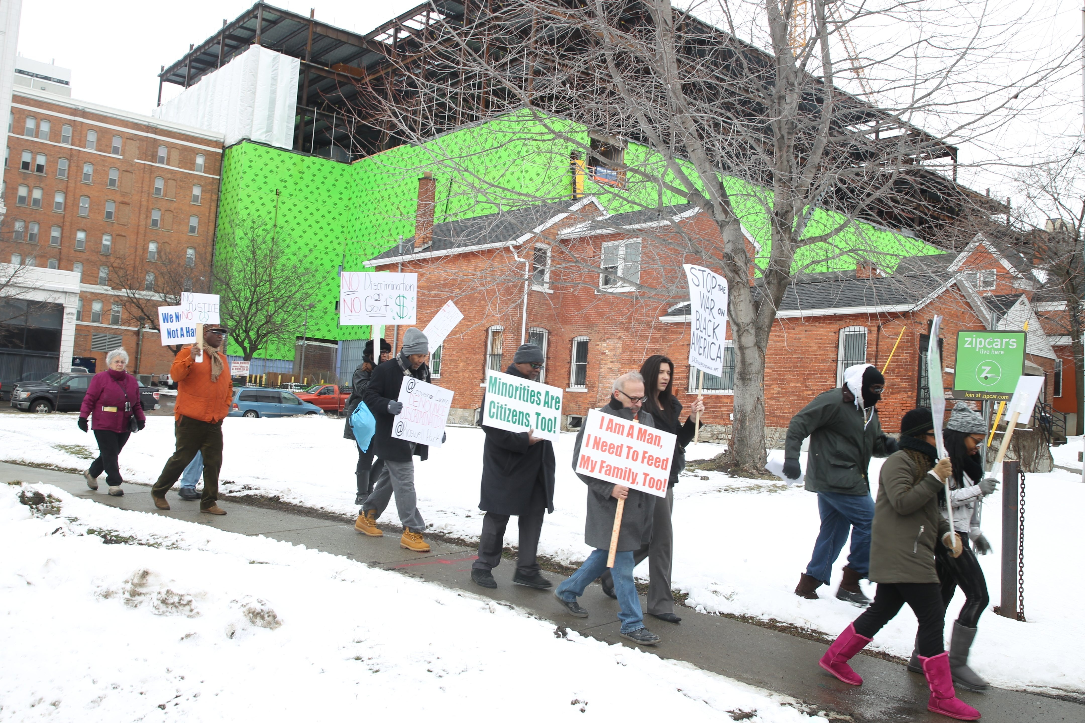 BUILD of Buffalo and other groups protesting what they see as a lack of minority hiring on construction jobs in the area demonstrated at the Medical Campus earlier this month. (John Hickey/Buffalo News)