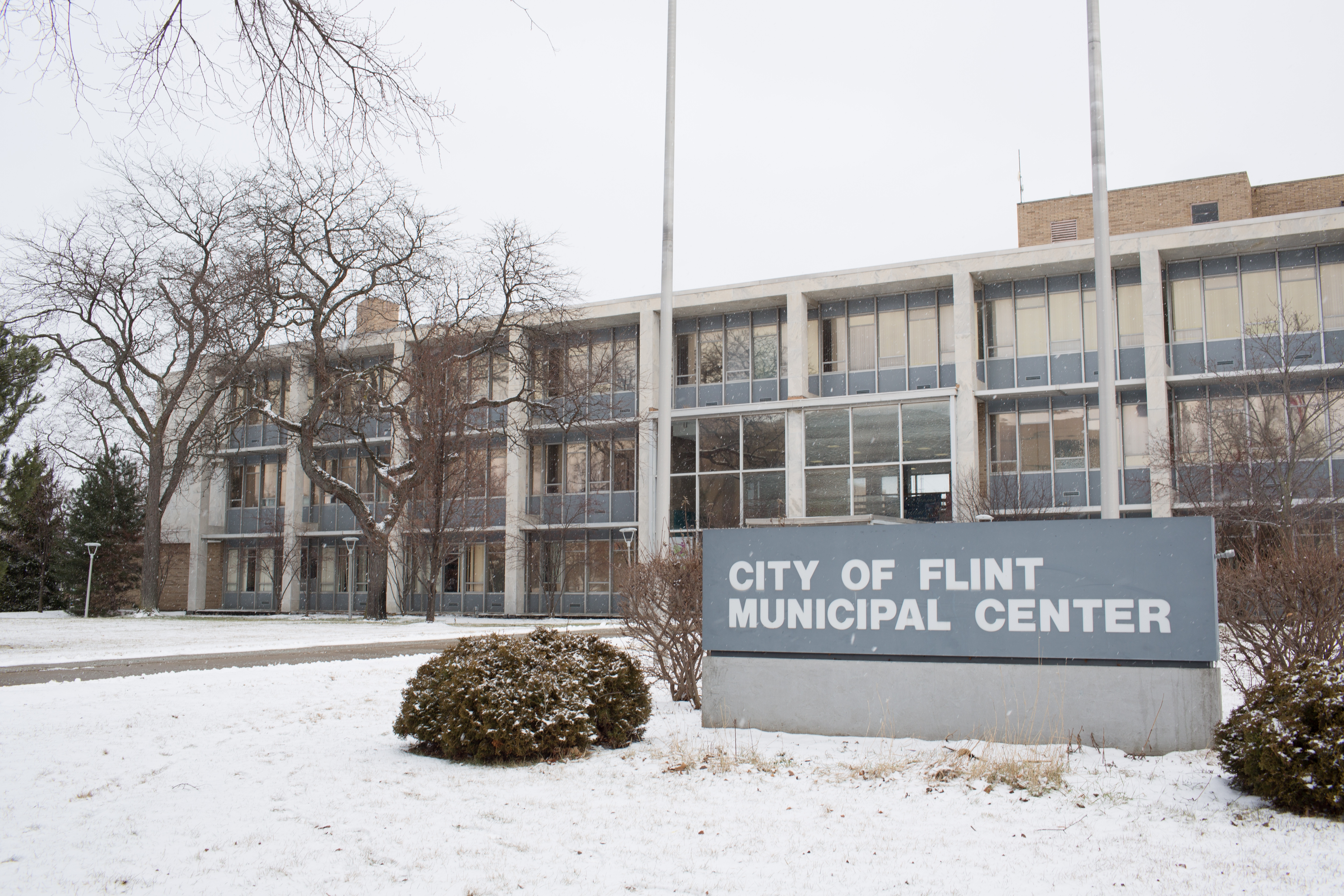 The exterior of the City of Flint Municipal Center before a press conference by Michigan Gov. Rick Snyder regarding the Flint water crisis on Wednesday in Flint, Mich.