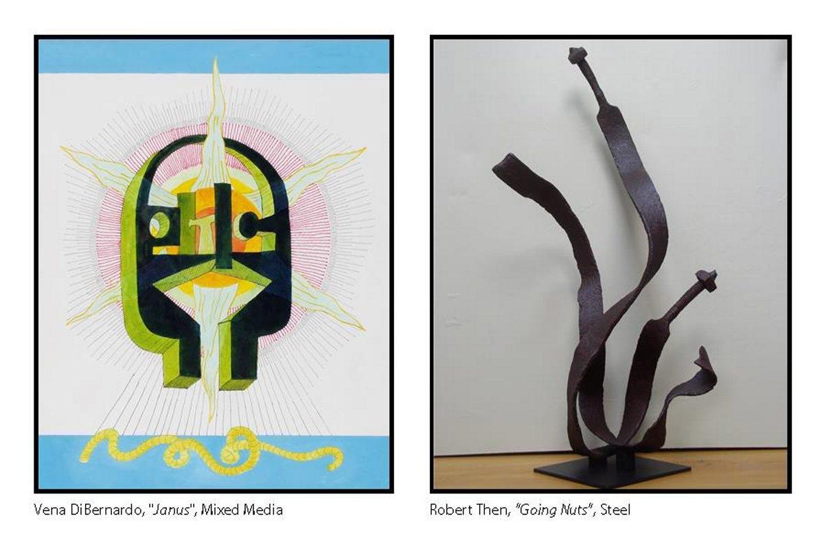 Works by artists Vena DiBernardo, left, and Robert Then.