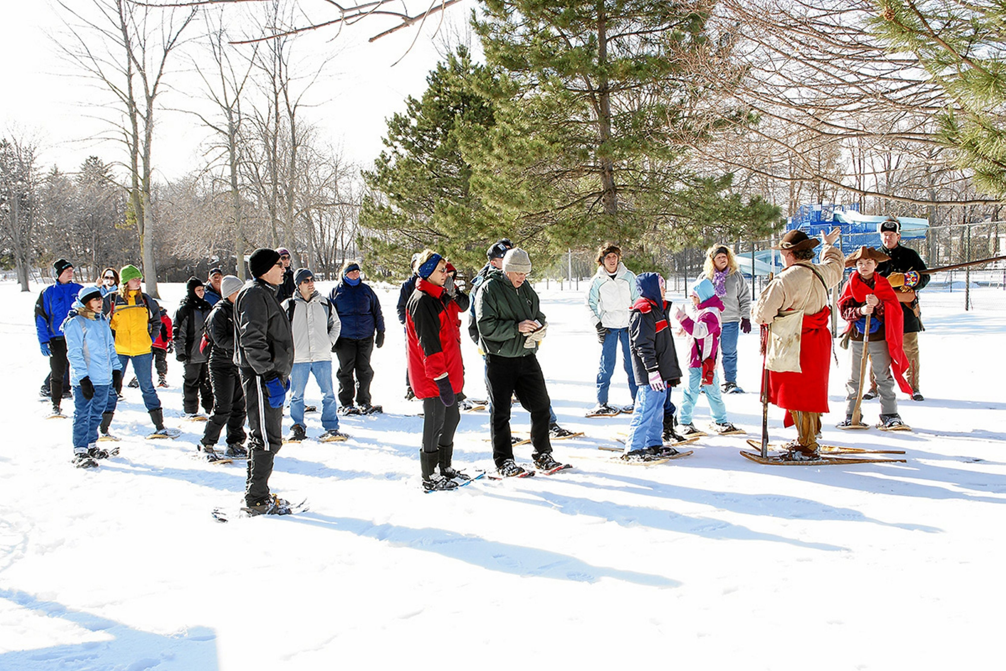 A snowshoe trek into the woods near Old Fort Niagara to watch re-enactors in a skirmish is part of the scheduled events Saturday, as long as there's snow.