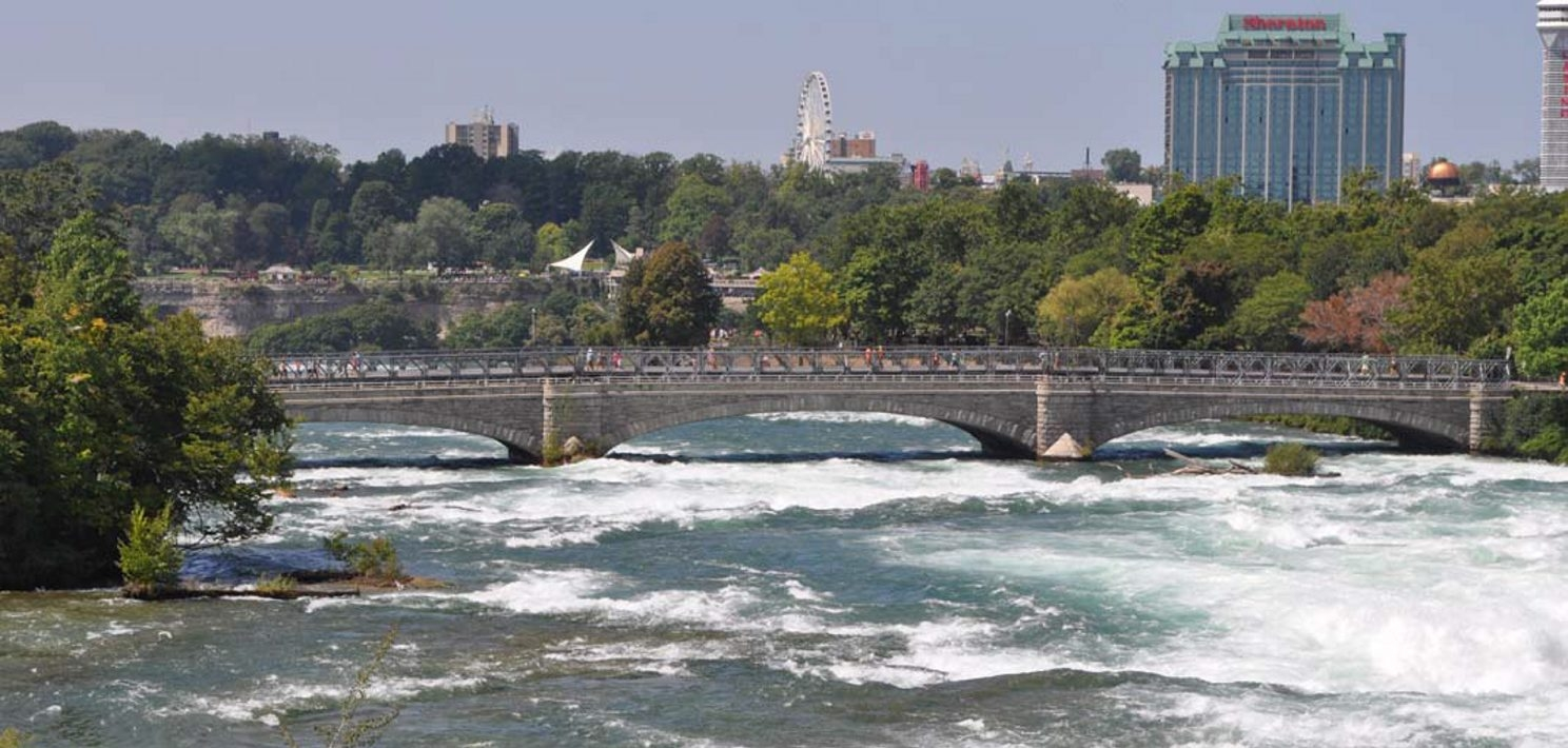 The American Falls will be dewatered to allow this bridge and a companion to be replaced. The dry riverbed will offer a marketing oppportunity for Niagara Falls.