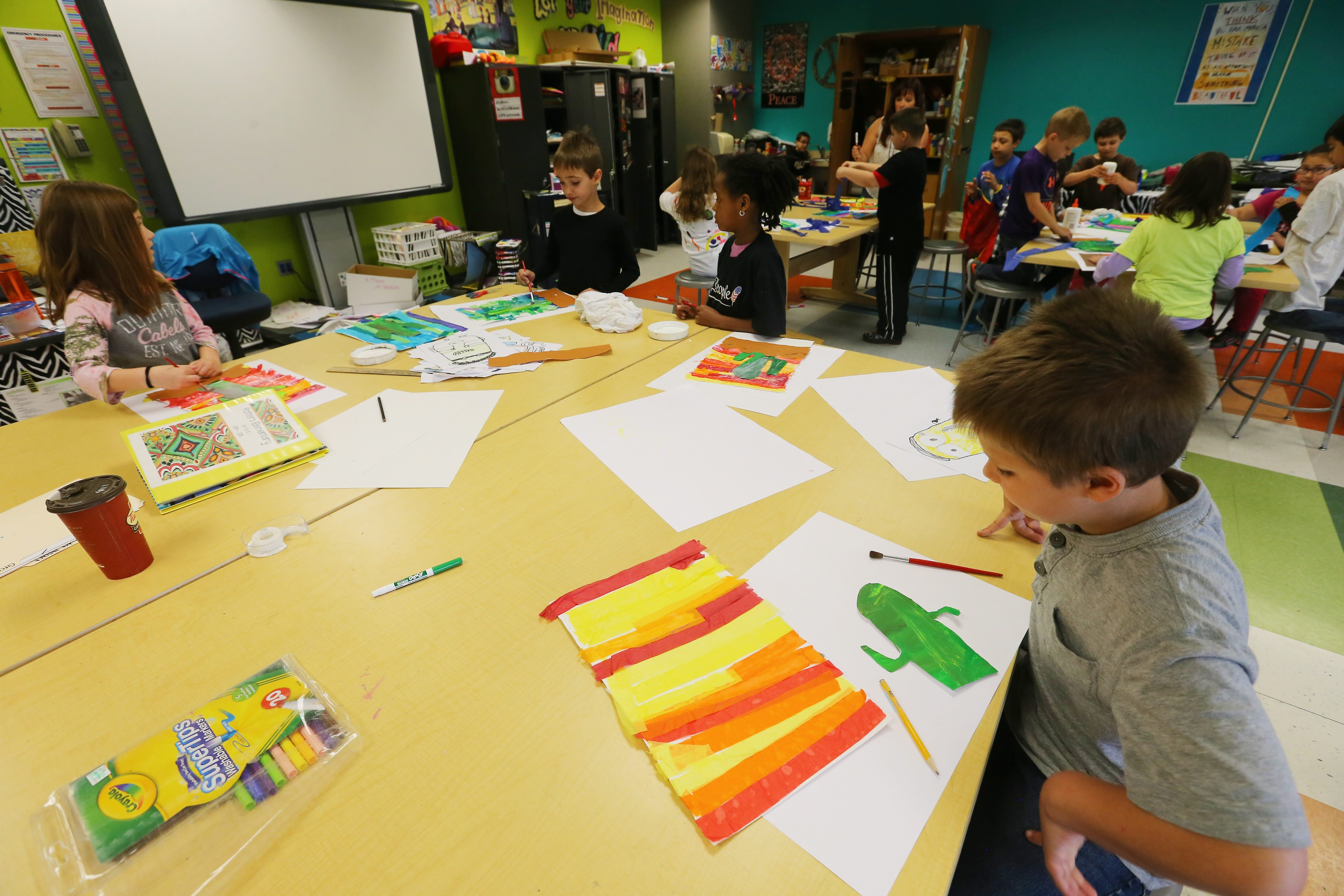 Second-graders work on an art project at Potters Road Elementary School in West Seneca on May 12, 2015.