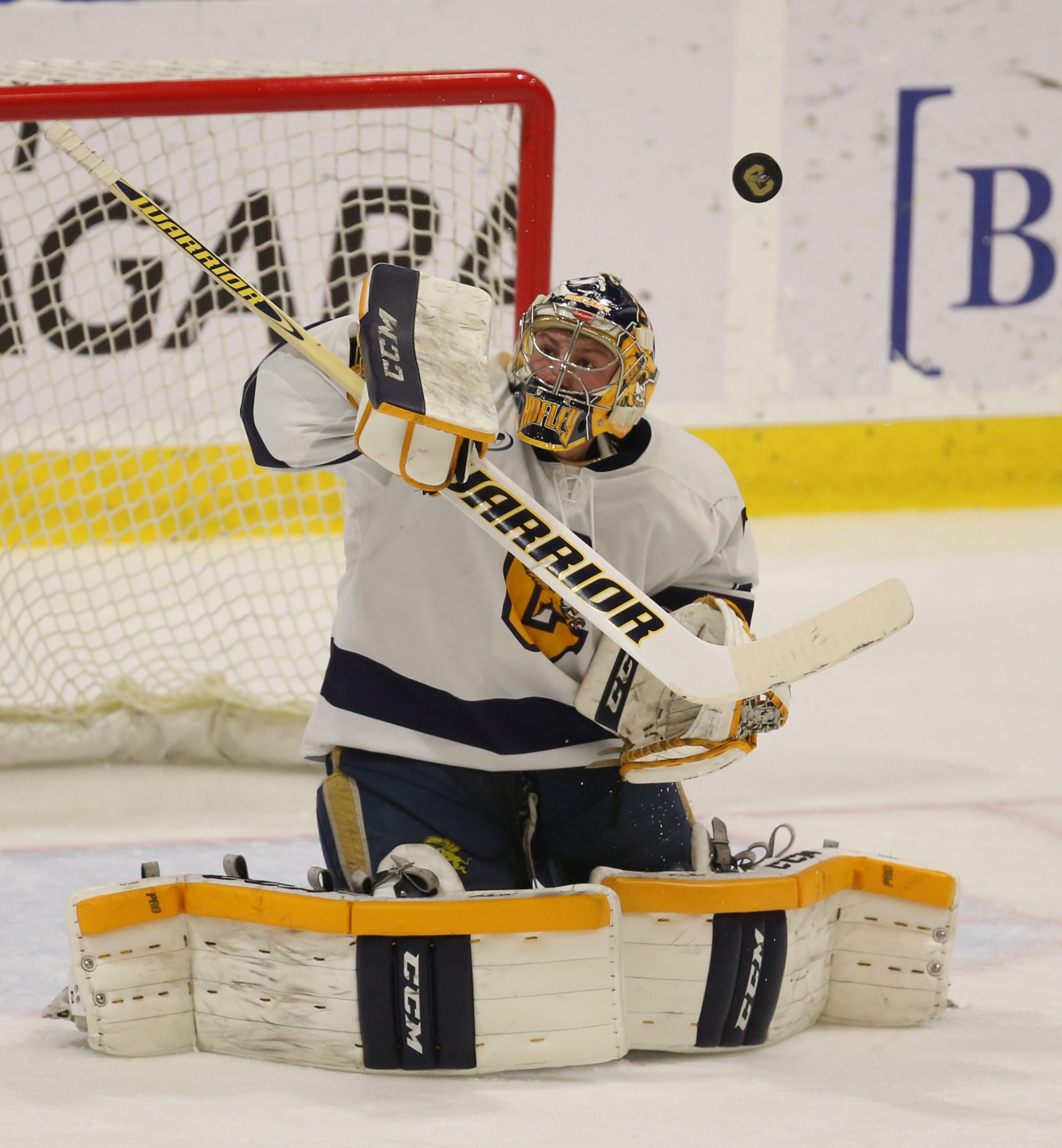Canisius' Simon Hofley makes save in the first period at HARBORCENTER in Buffalo, NY on Friday, Nov. 20, 2015.  (James P. McCoy/ Buffalo News)