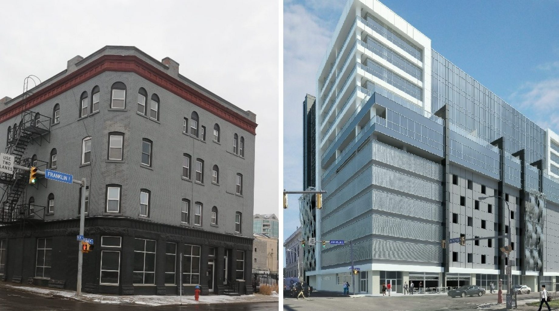 The historic Bachelor Apartments on Franklin Street in Buffalo, left, would have to be demolished to allow for the construction of a hotel tower, shown in a rendering at right.