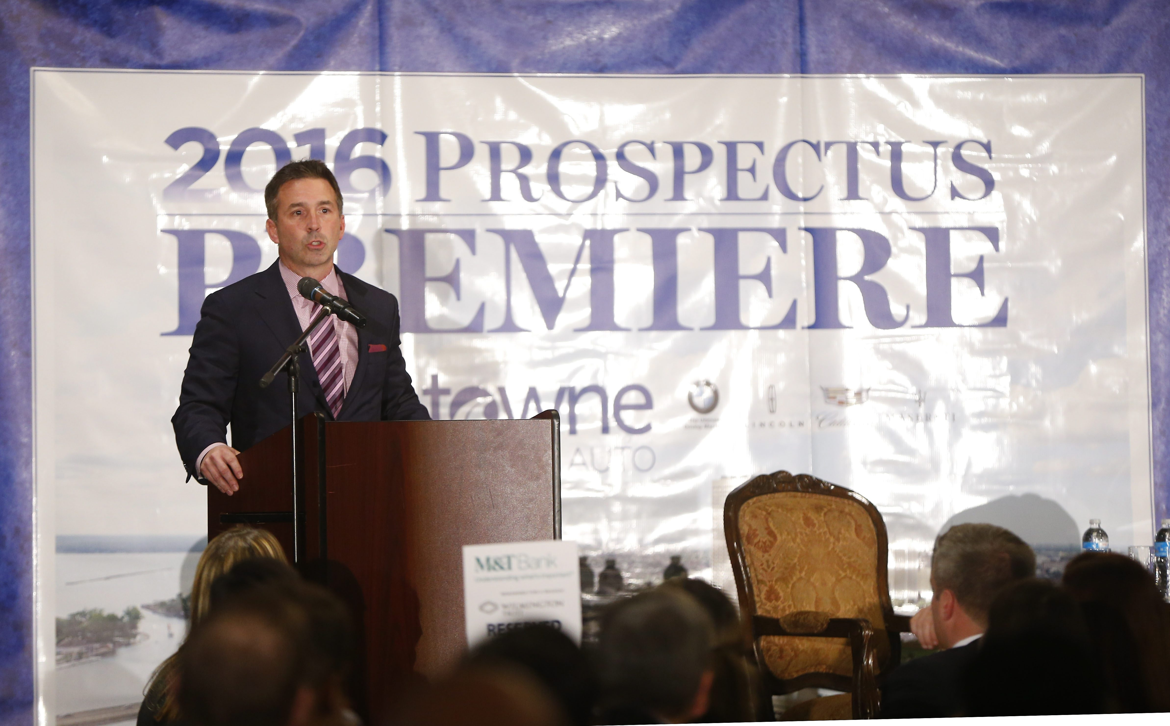 Russ Brandon speaks during the annual Prospectus Premiere, held Thursday at Salvatore's Italian Gardens in Cheektowaga. Brandon is the president of the Buffalo Bills, Buffalo Sabres and Rochester Americans.
