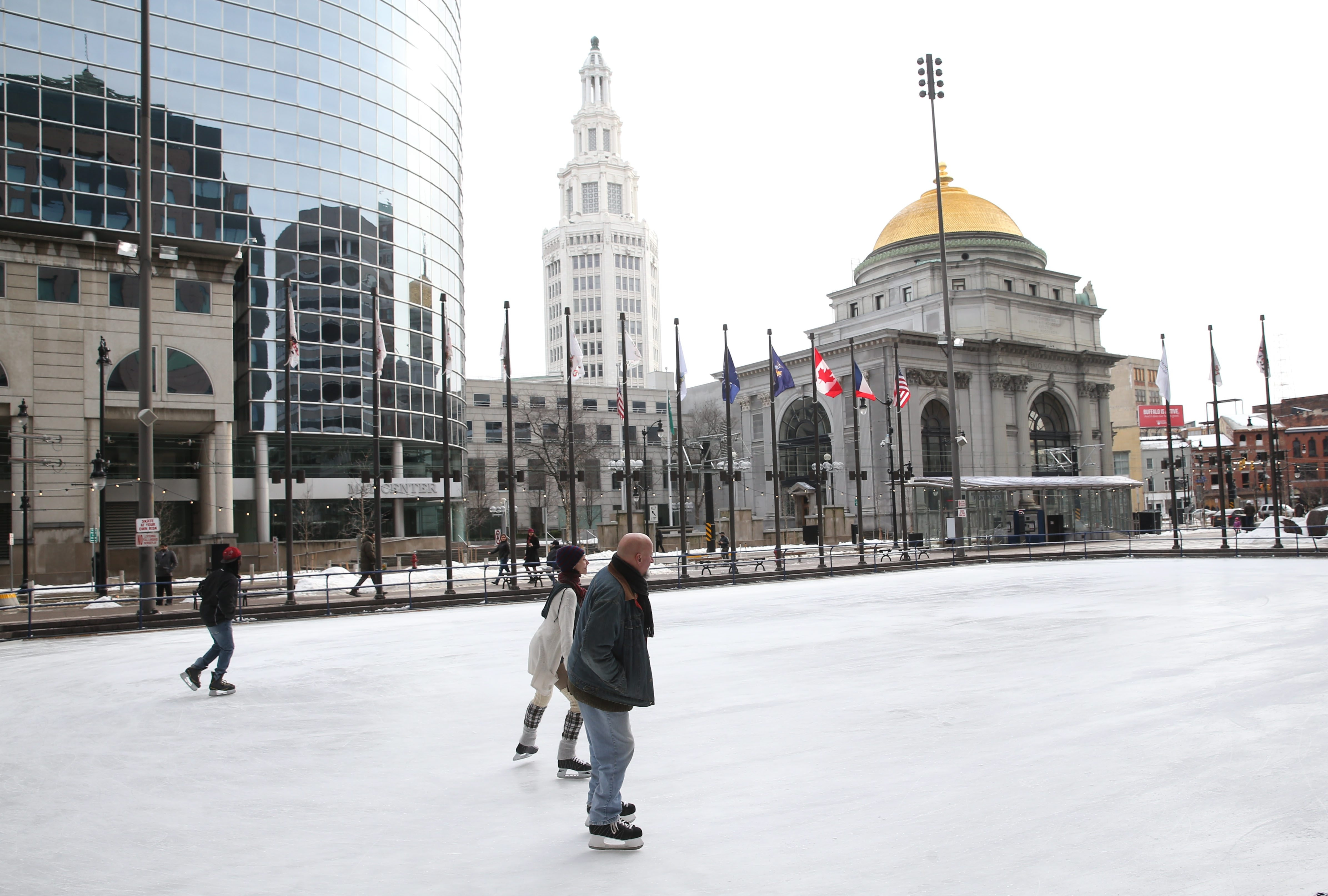 Skaters take advantage of pleasant winter weather to skate at the Rotary Rink on Main Street in downtown Buffalo on a weekday afternoon last week.