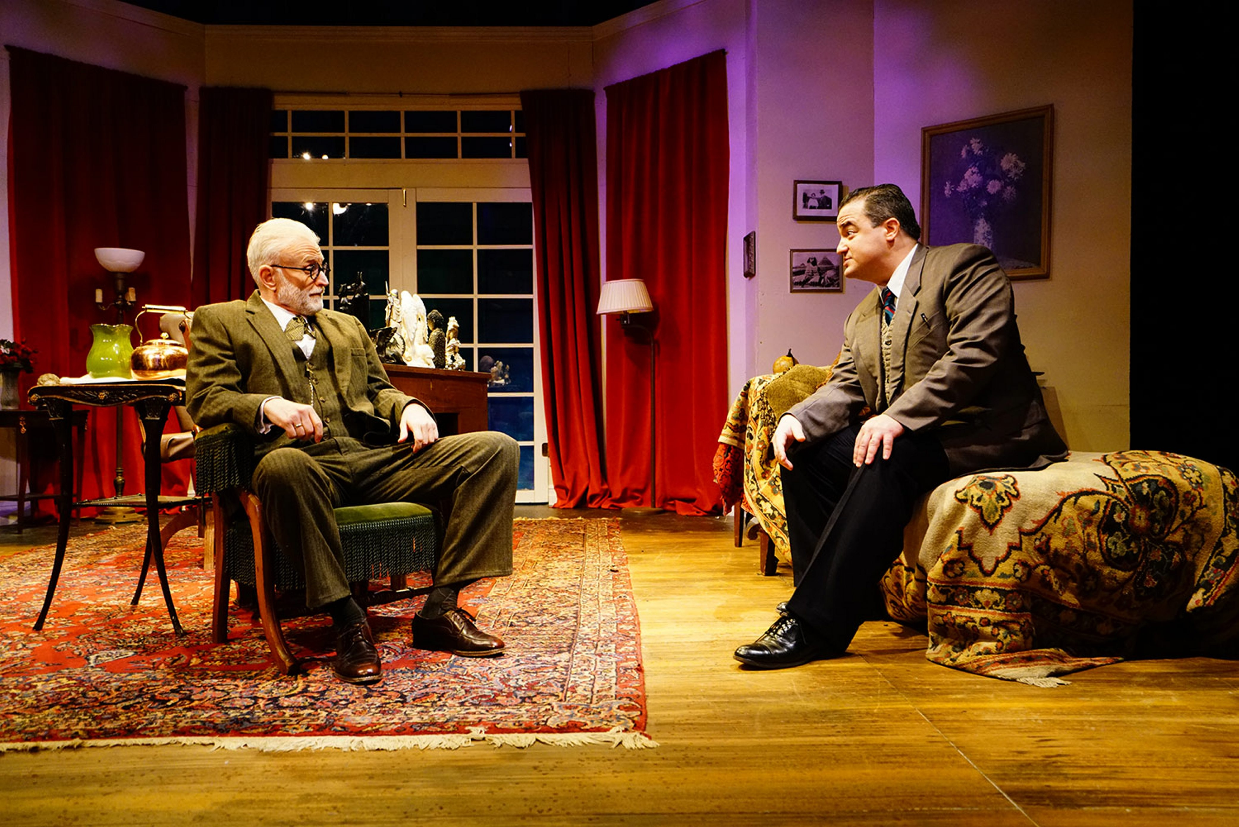 """David Oliver,left, plays Sigmund Freud, and Matt Witten is C.S. Lewis in the lively """"Freud's Last Session."""" (Photo by  Vincent Lopez)"""
