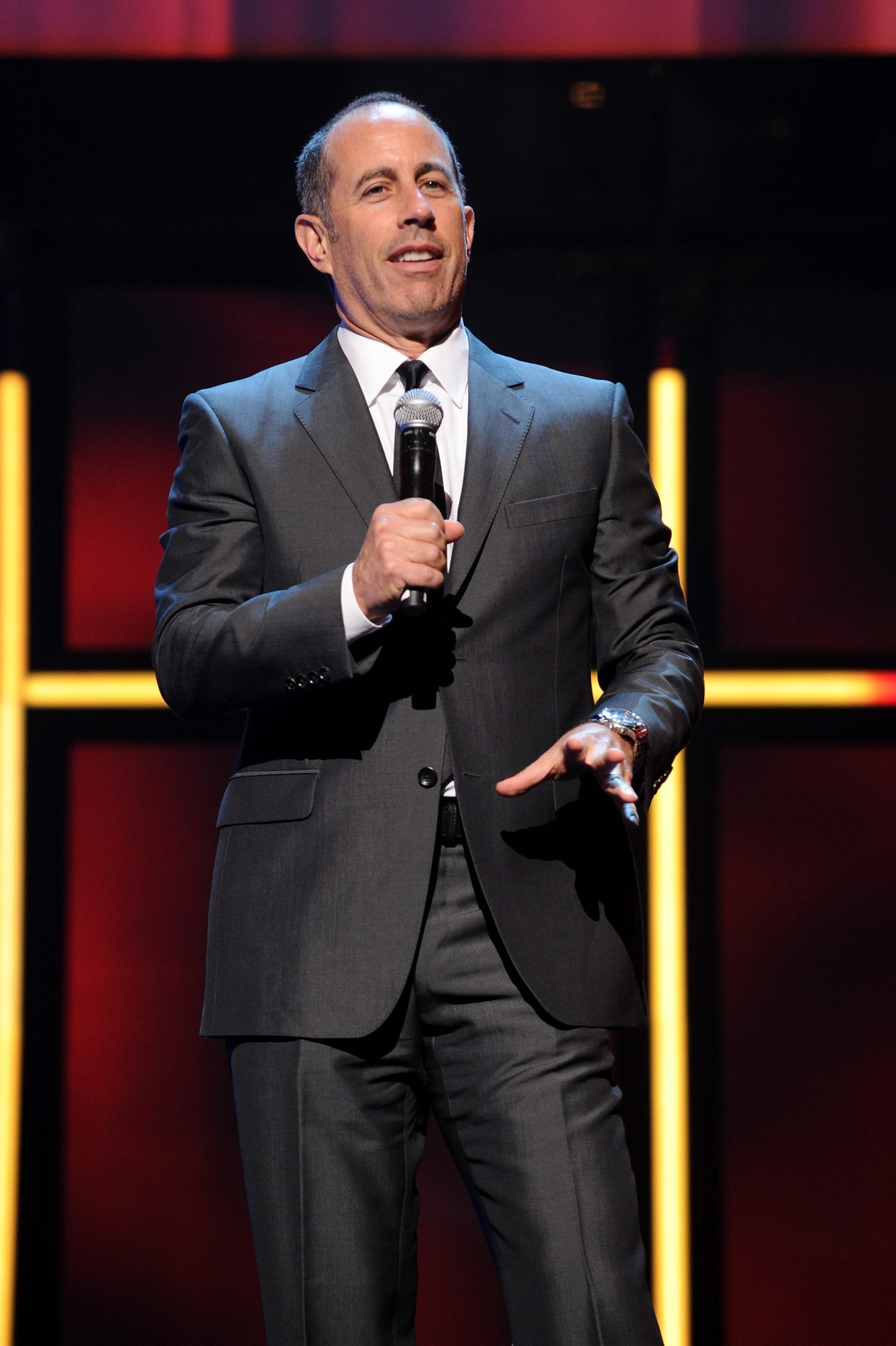 NEW YORK, NY - APRIL 29:  Jerry Seinfeld speaks onstage at the 2015 Hulu Upfront Presentation at Hammerstein Ballroom on April 29, 2015 in New York City.  (Photo by Craig Barritt/Getty Images for Hulu)