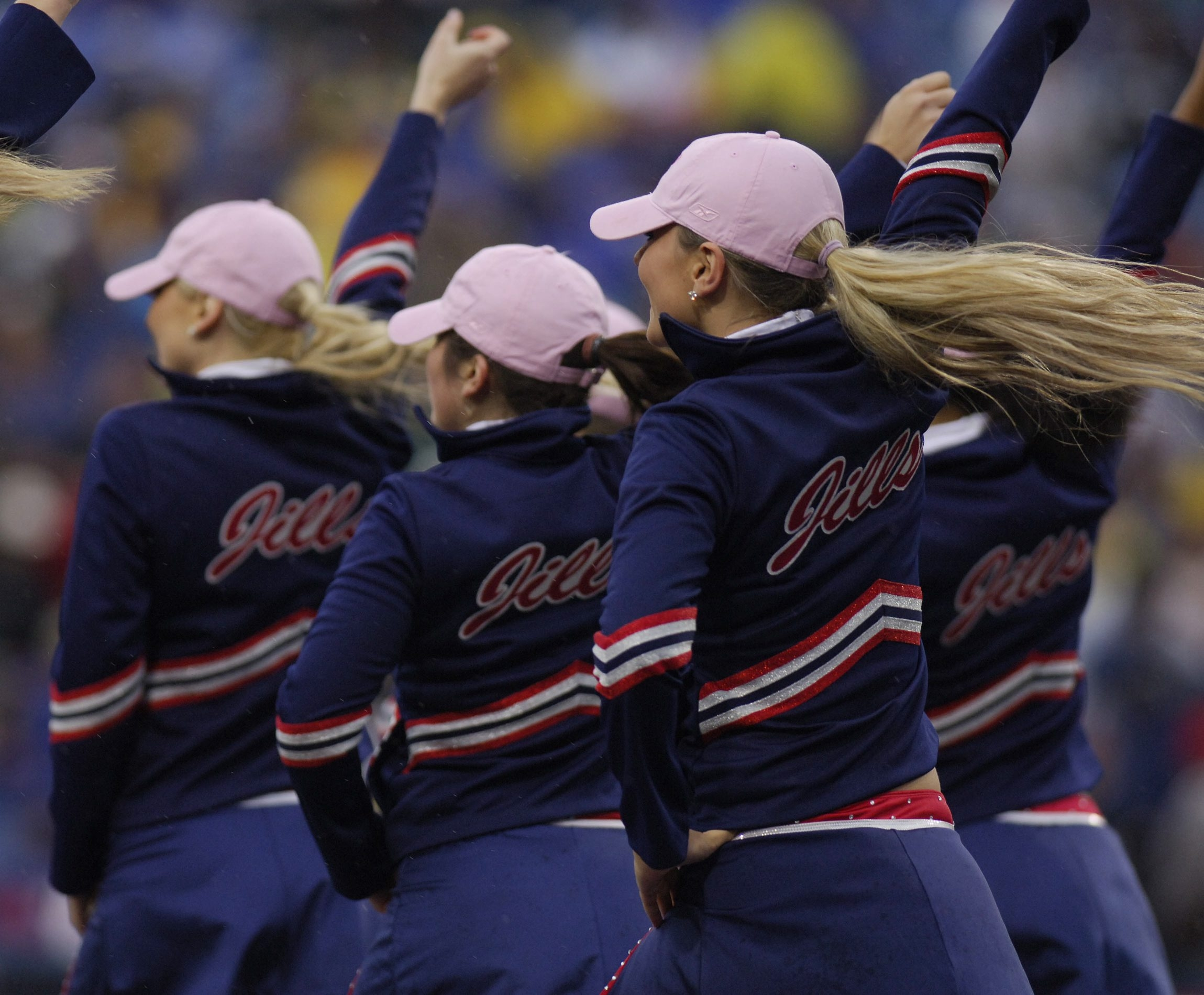Buffalo Jills cheerleaders perform during the during the halftime of the Patriots/Bills game at Ralph Wilson Stadium on Oct. 22, 2006.