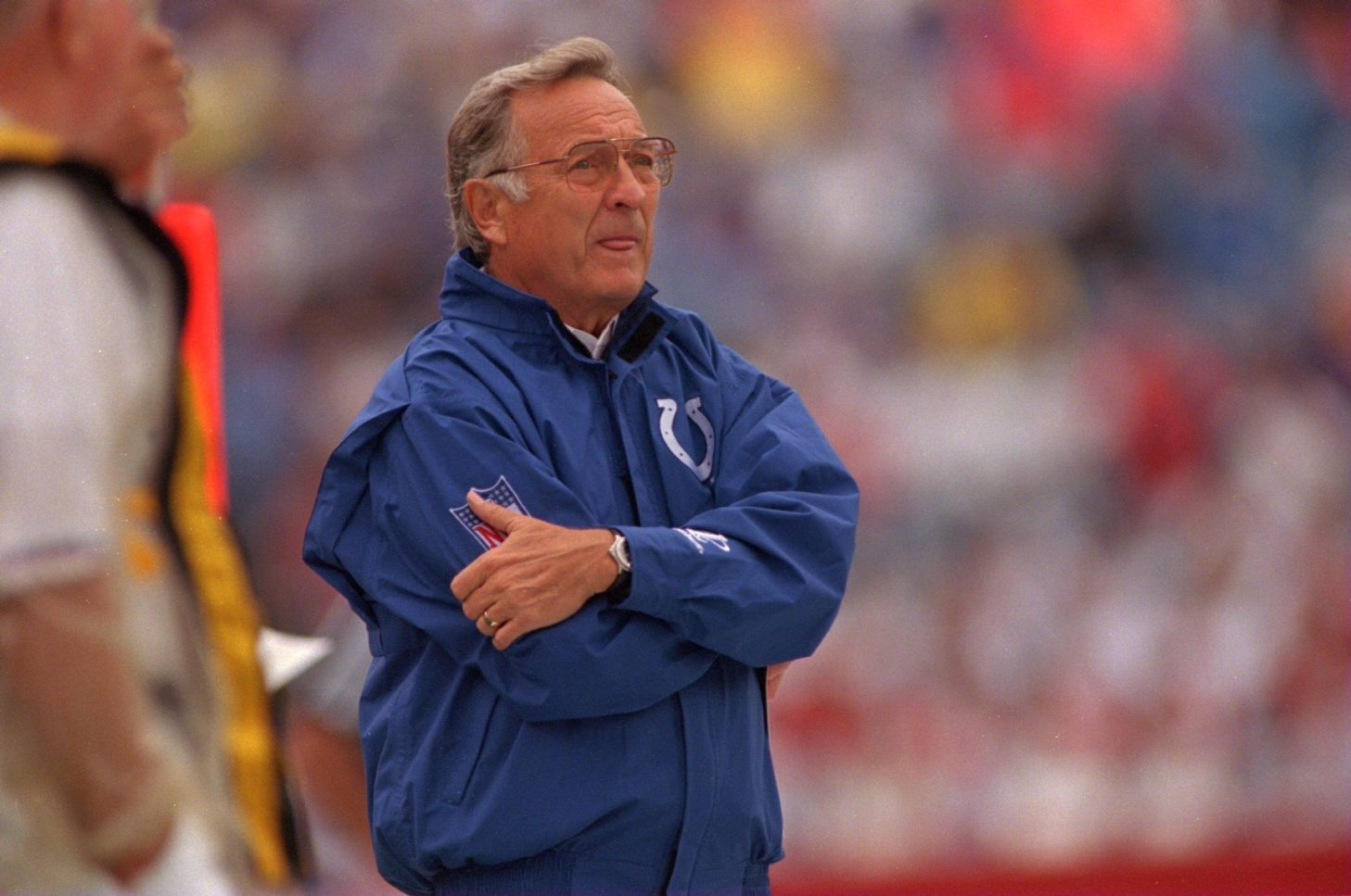 Ted Marchibroda, pictured as head coach of the Indianapolis Colts in 1995, looks on during a 20-14 loss to the Bills at then-Rich Stadium.