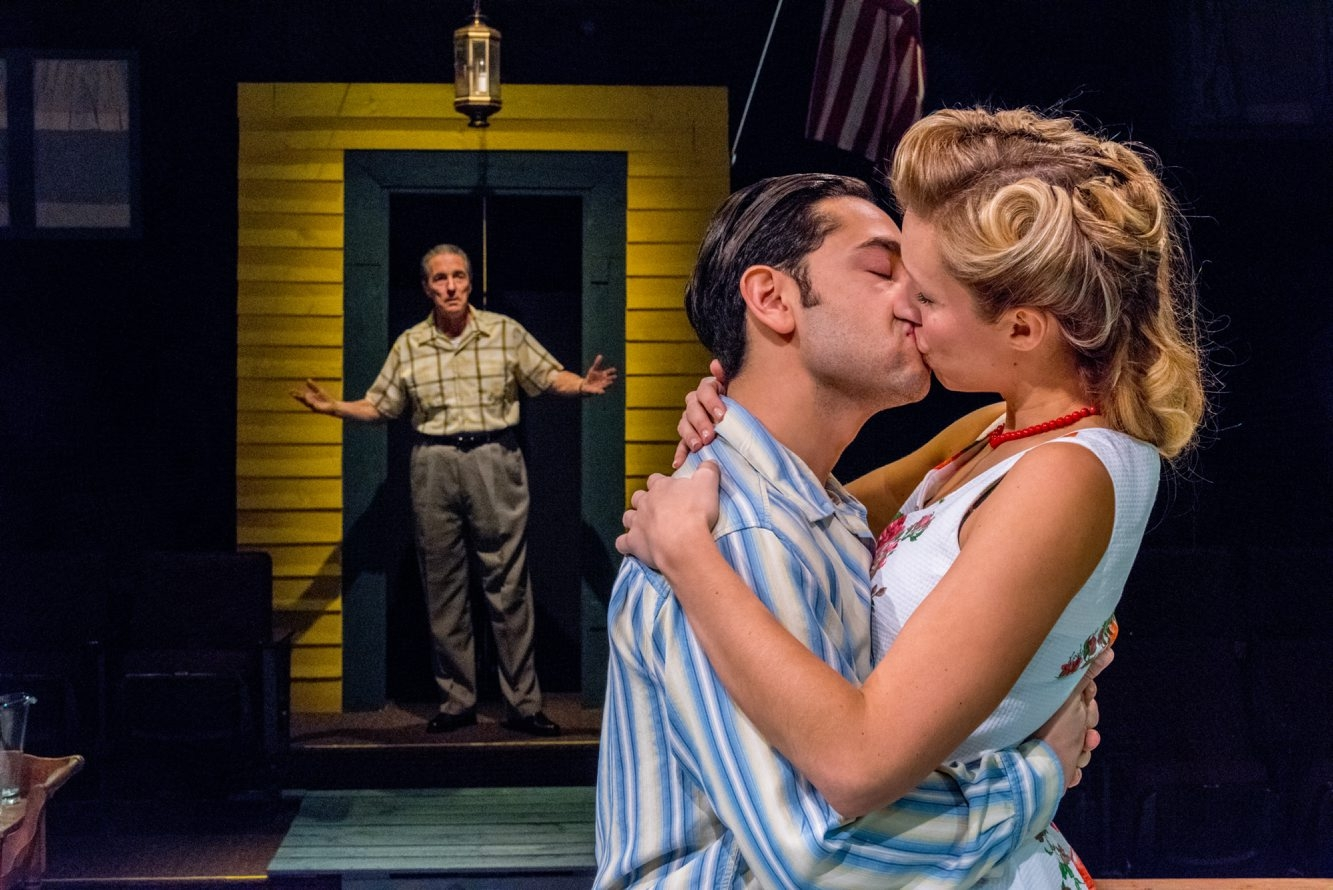 "Peter Palmisano, left, Anthony Alcocer and Candice Kogut star in the Irish Classical Theatre Company's production of ""All My Sons."""