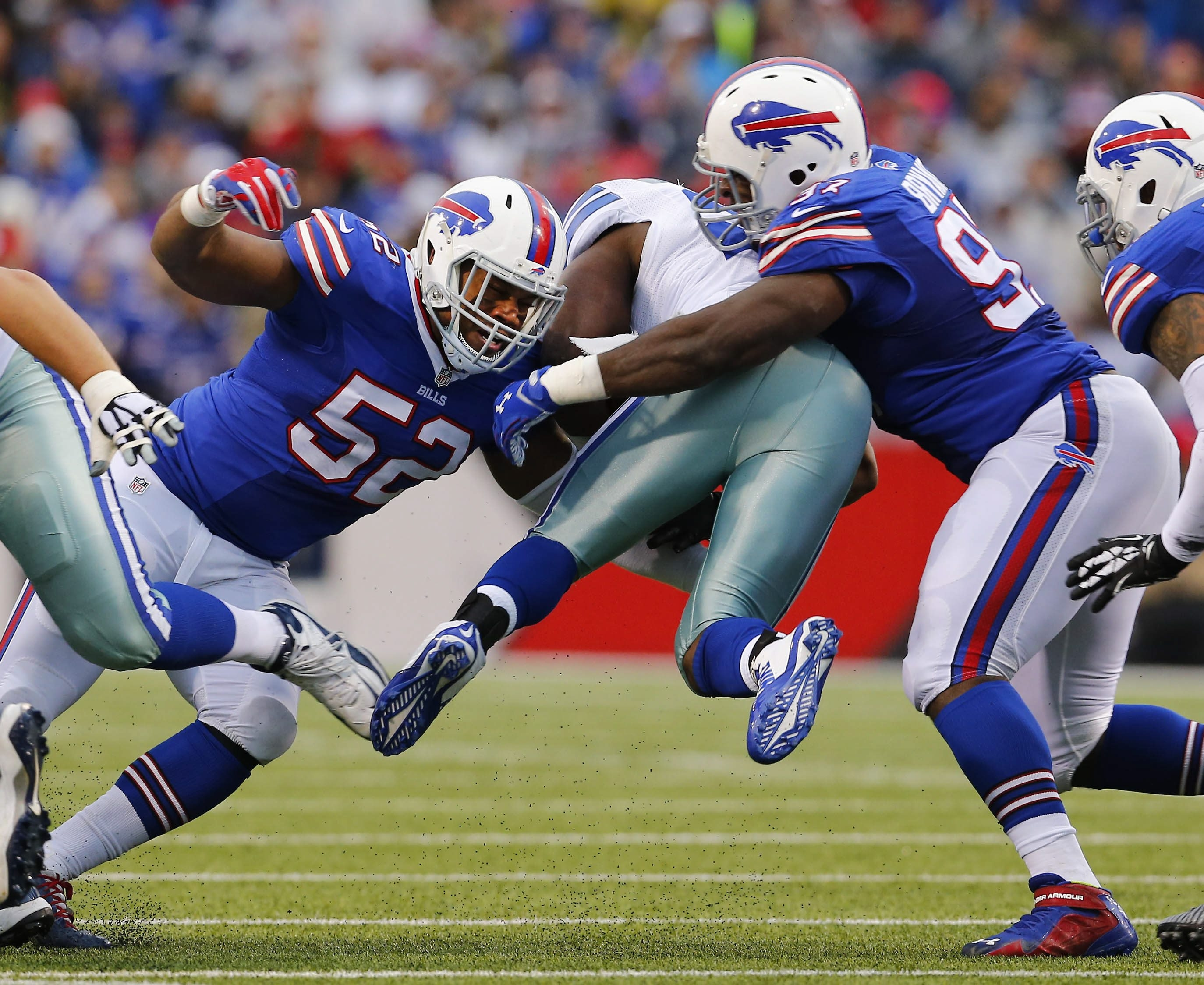 Preston Brown, left, and Corbin Bryant, right, and the rest of the Bills' defense finished the season strong but it was after the team was eliminated from postseason contention.  (Mark Mulville/Buffalo News)