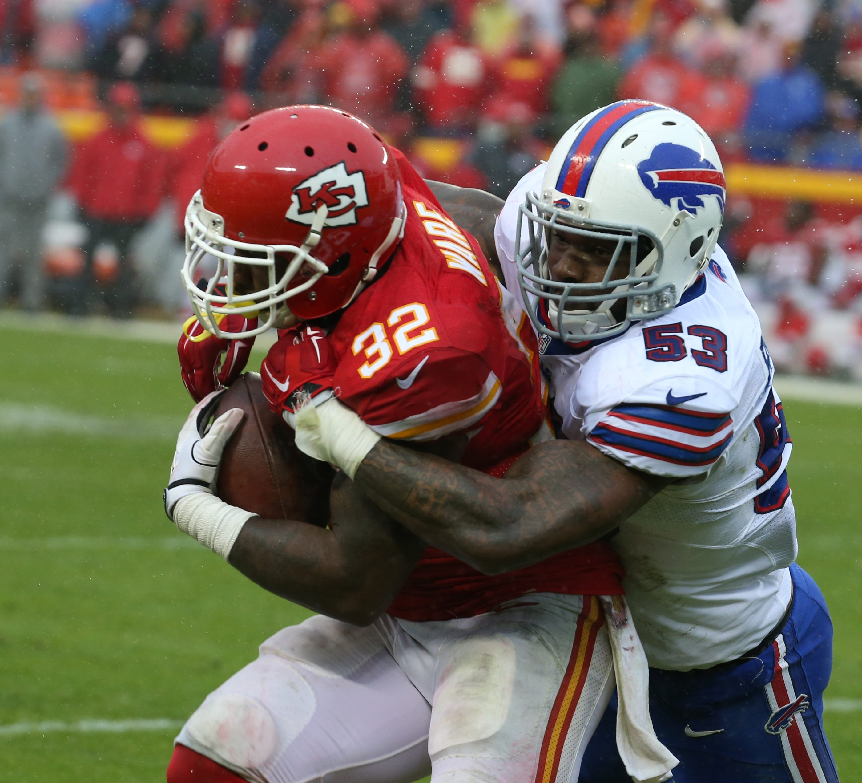 James P. McCoy/ Buffalo News   Bills outside linebacker Nigel Bradham (53) is a free agent who saw his production take a precipitous drop from 2014.