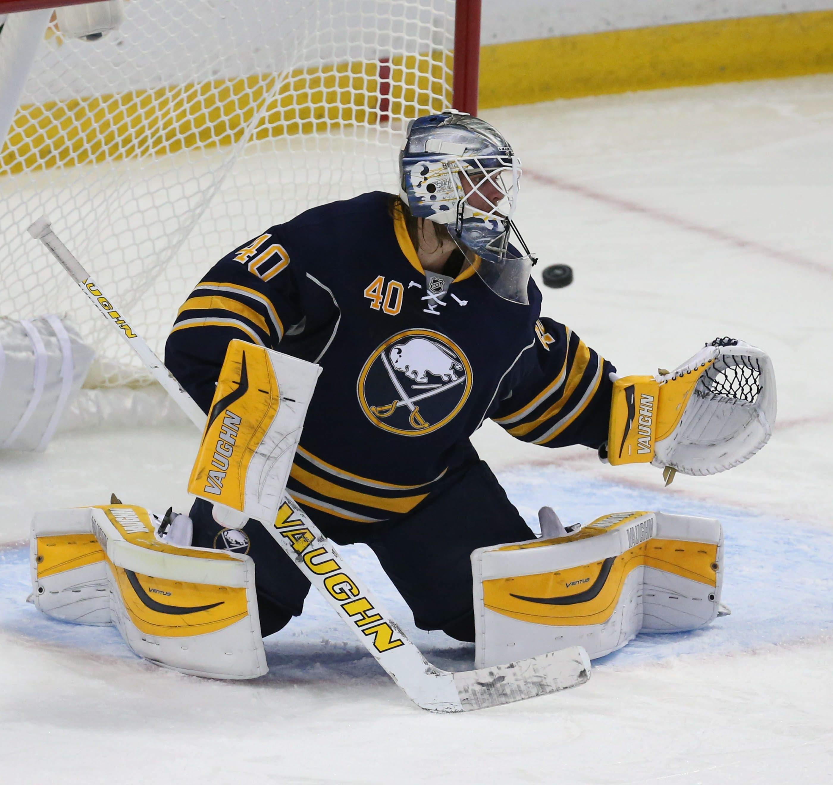Buffalo Sabres goalie Robin Lehner (40) makes a save during preseason action.