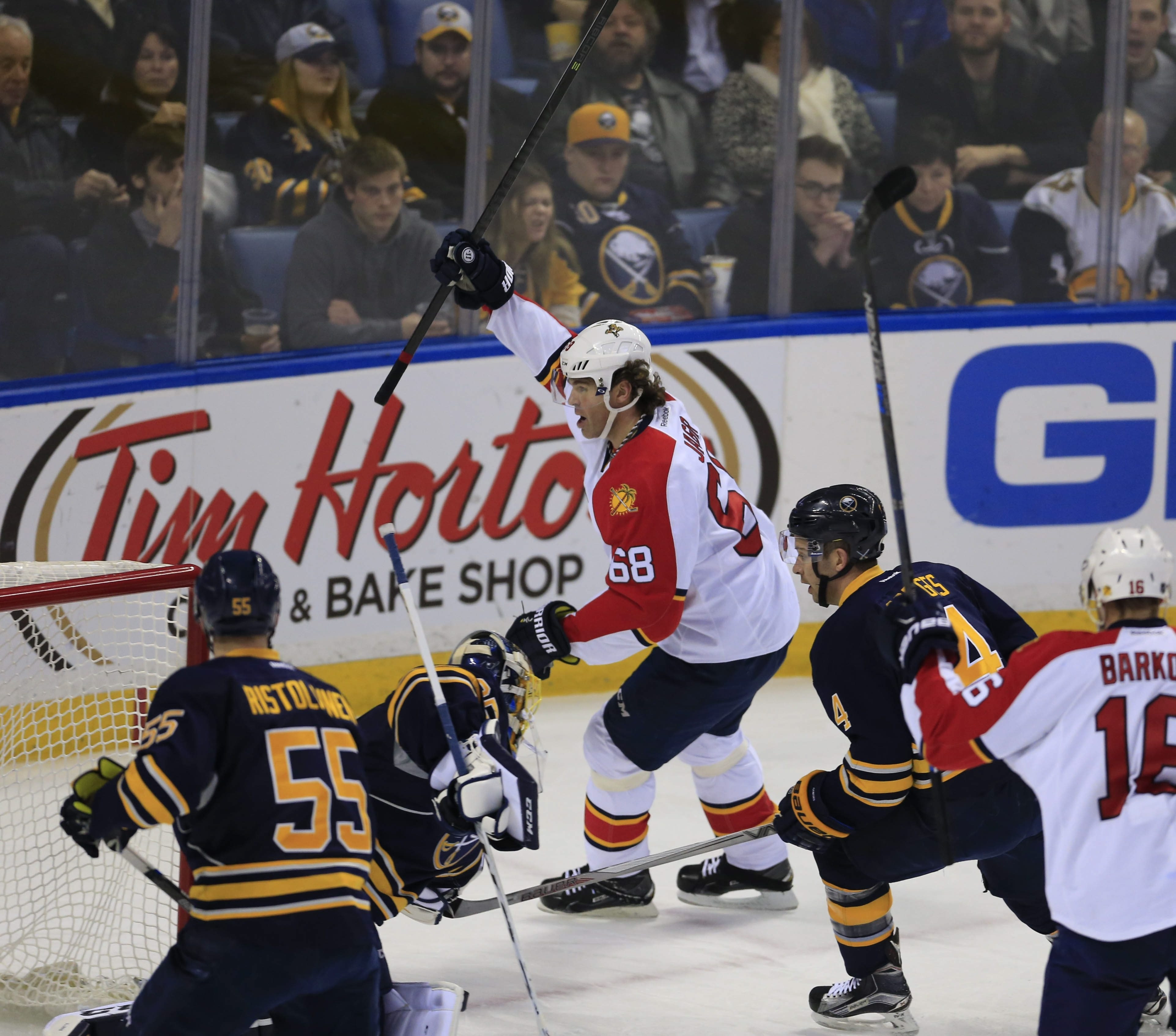 Florida Panthers right winger Jaromir Jagr celebrates a goal against the Buffalo Sabres Tuesday at First Niagara Center.