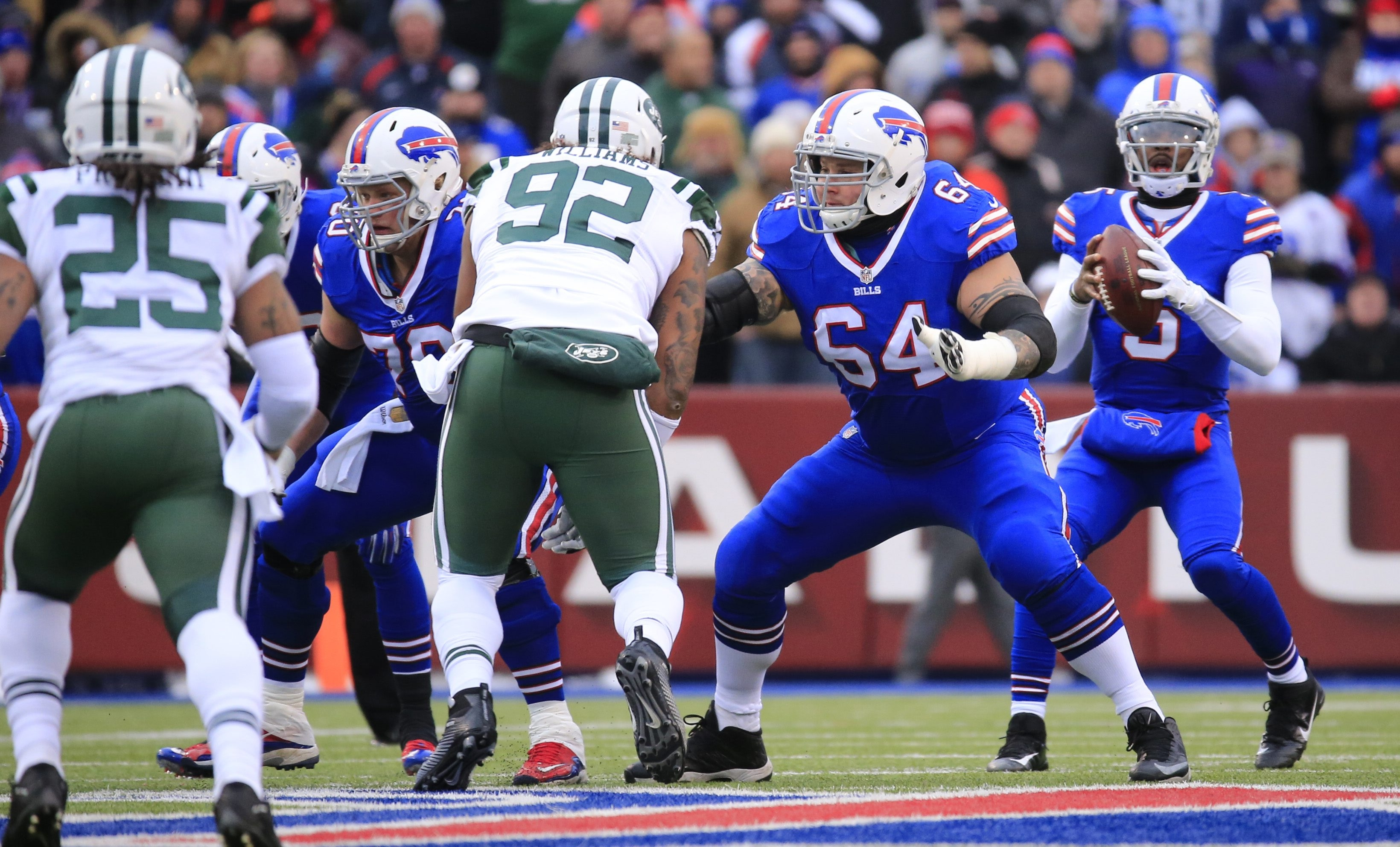 Eric Wood (70) and Richie Incognito (64) were part of a Bills offensive line that took a step forward during the season.