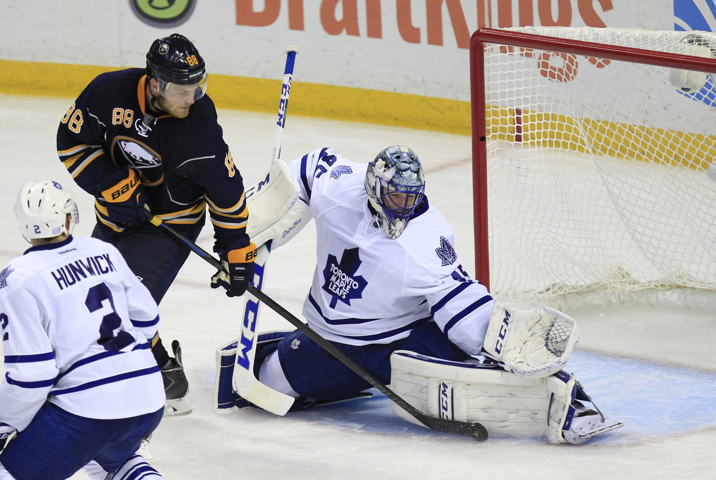 """Buffalo's Jamie McGinn, shooting against Toronto goaltender Jonathan Bernier, says """"there's definitely no easy two points out there"""" for the Sabres."""