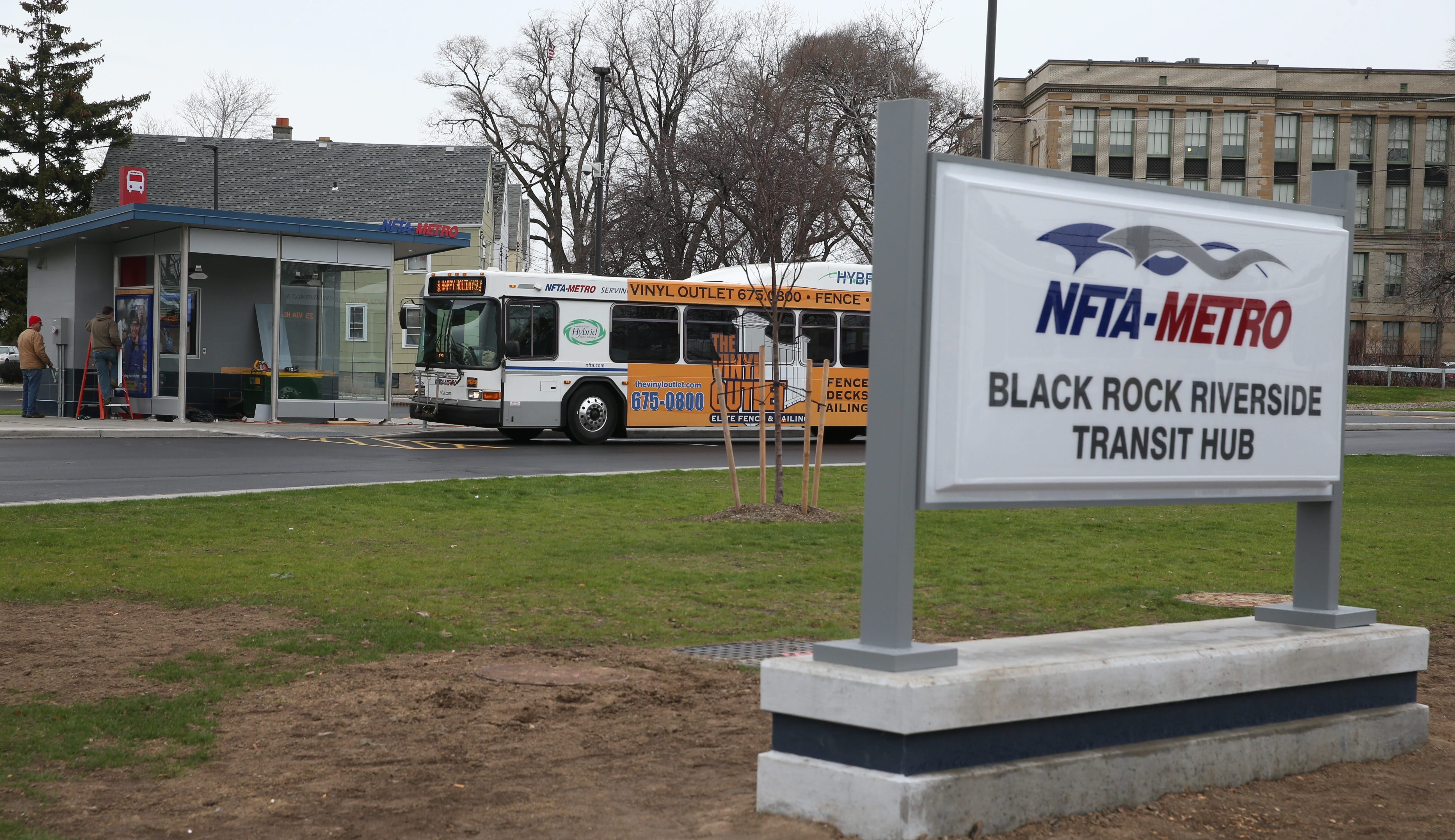 The new Metro Bus hub is one piece of the rebirth of Niagara Street. (Sharon Cantillon/Buffalo News)