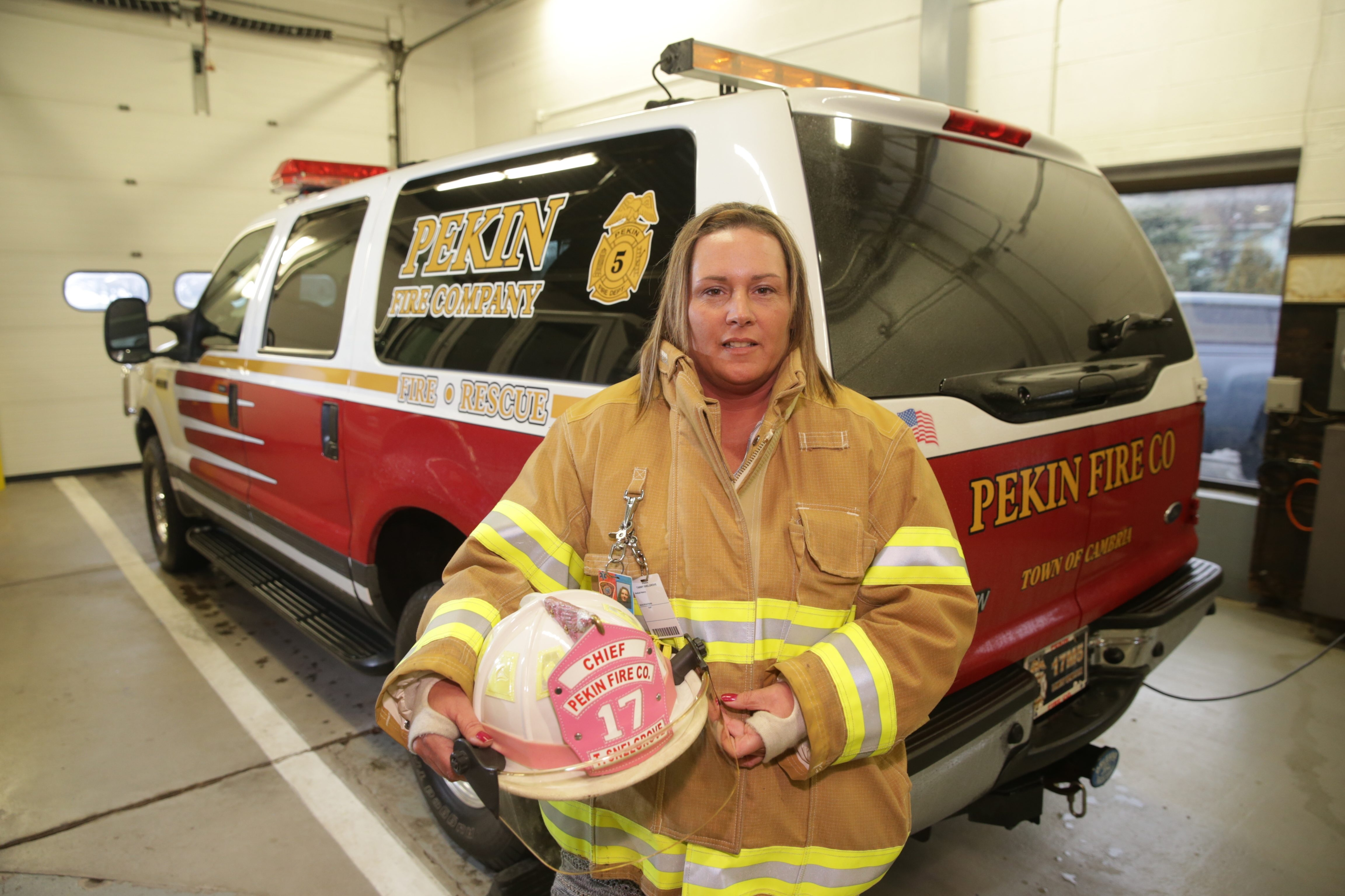 Pekin Fire Company Chief Tammy Snelgrove followed in her father's footsteps when she joined the ranks in 2005. The 44-year-old mother of two is an administrative assistant at Orleans-Niagara BOCES.
