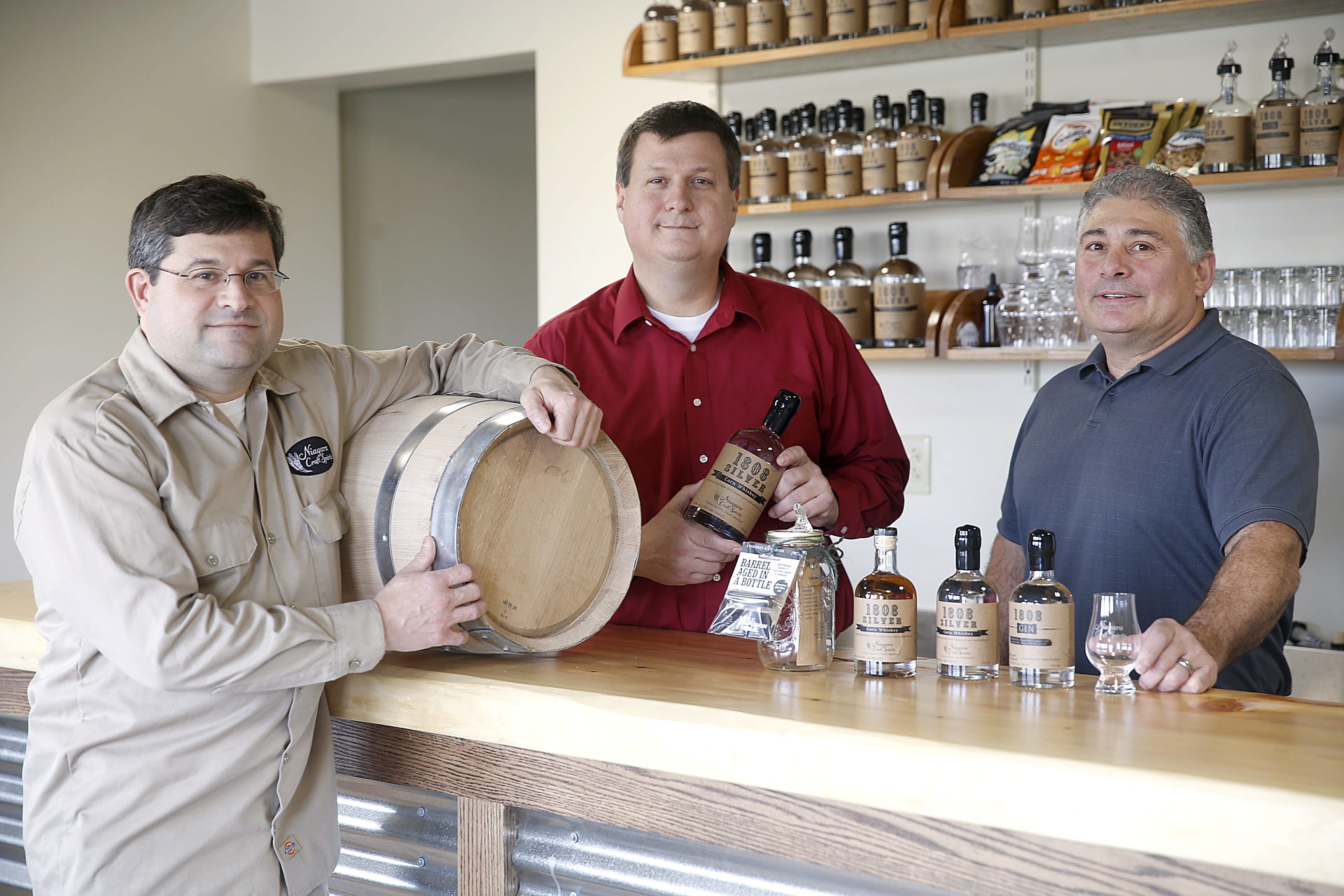 """From left, Keith Curtachio, Todd Snyder and Joe Nardecchia put their award-winning homebrewing skills to work in creating Niagara Craft Spirits Distillery and Tasting Room, where the motto is """"Great Spirits, Small Batches."""""""