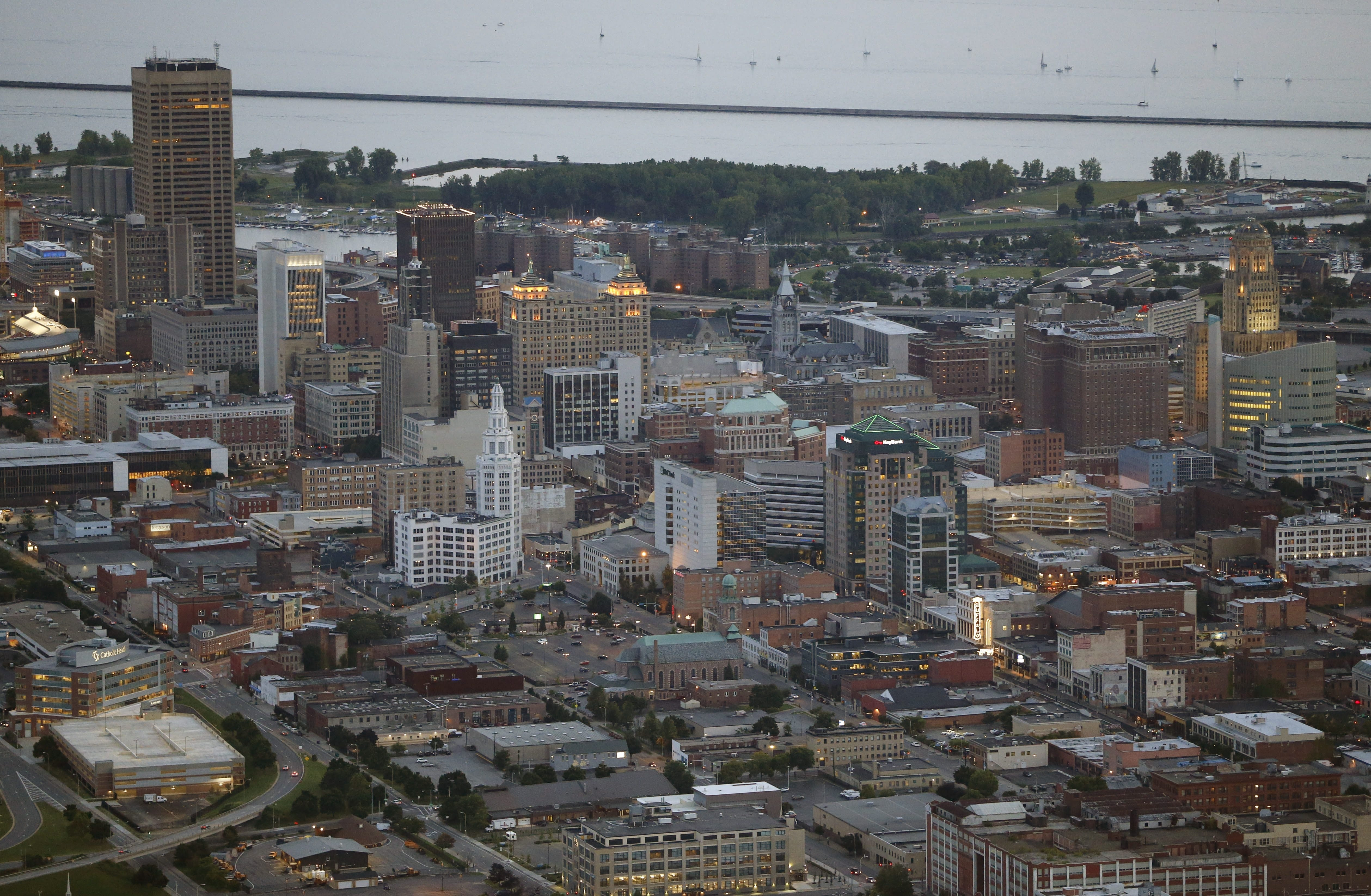 The nearly empty One Seneca Tower, upper left, has resulted in Buffalo's central business district having the highest commercial office vacancy rate in the region at 17.8 percent. The rest of Buffalo had an 11.5 percent vacancy rate.