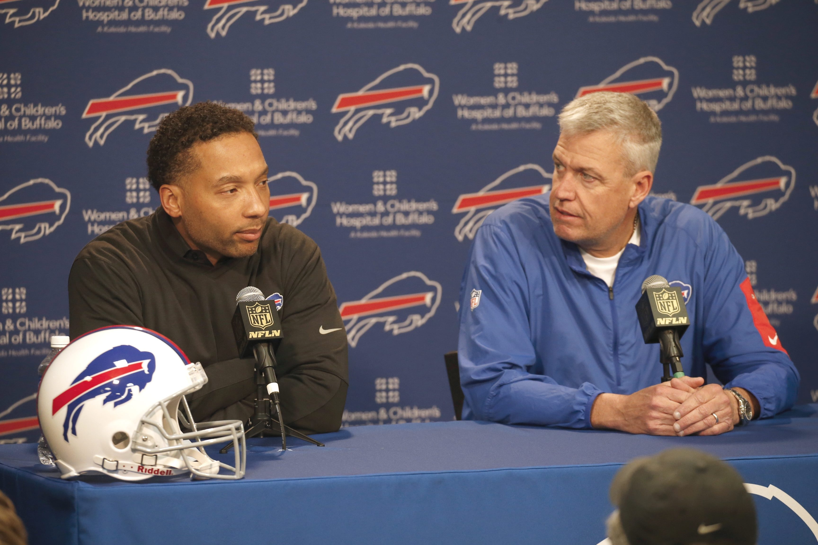 Regardless of the team's party line, Doug Whaley, left, and Coach Rex Ryan face an improve-or-else situation in 2016.