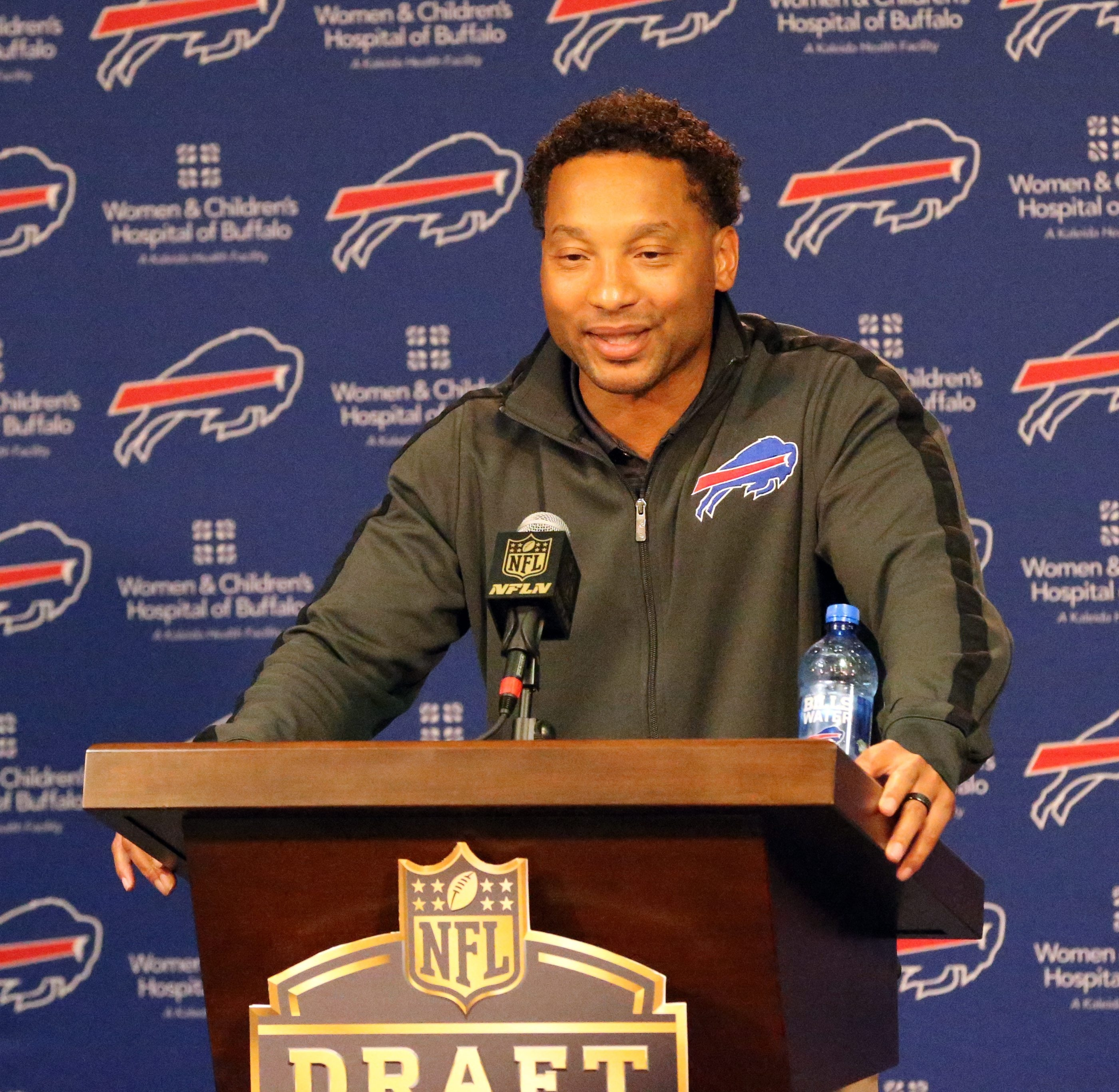 Doug Whaley talks to the press about the first round of the 2015 NFL draft last spring. He wasn't talking about a quarterback.