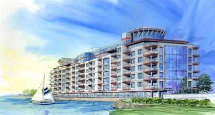 Rendering of proposed Queen City Landing on former Freezer Queen building FOR FIN