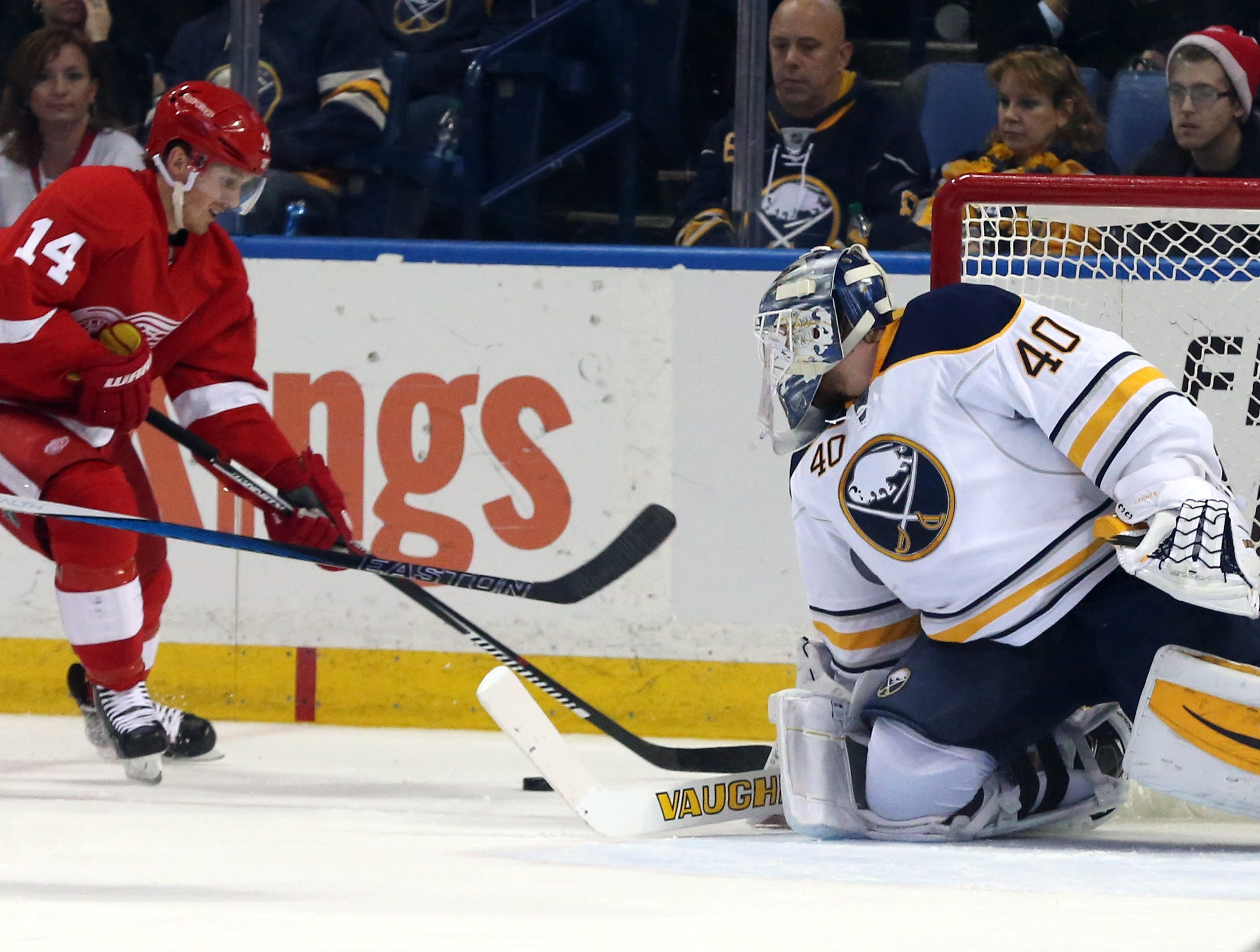 Sabres goalie Robin Lehner makes a save against a shot from Red Wings center Gustav Nyquist in the first period on Friday.