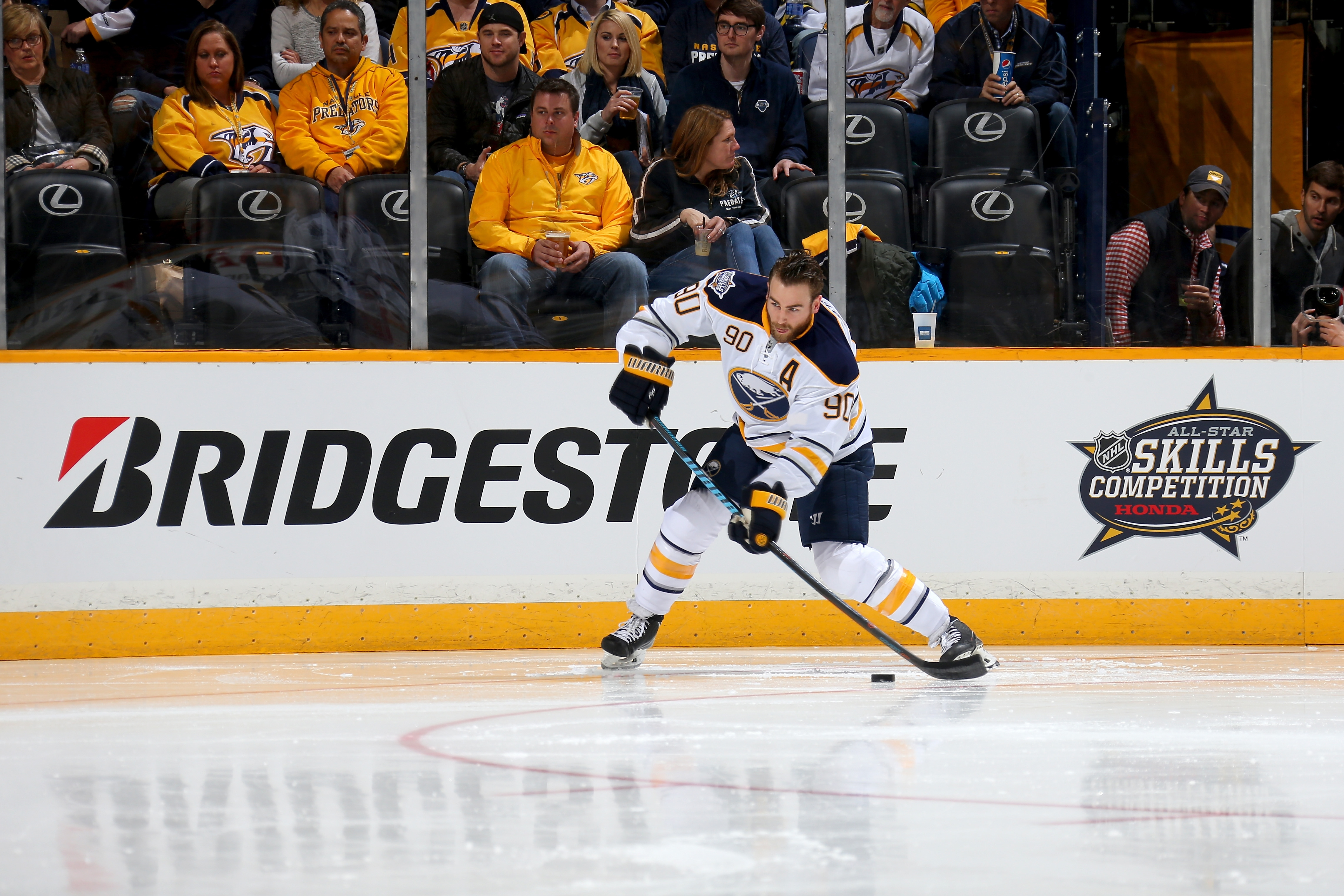 Ryan O'Reilly competes in the skills challenge relay during the NHL All-Star Skills Competition in Nashville.