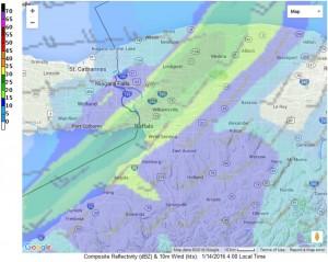 Forecast radar image for 4 a.m. Thursday from NWS Buffalo.