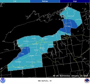Projected snowfall rate - 5 p.m.