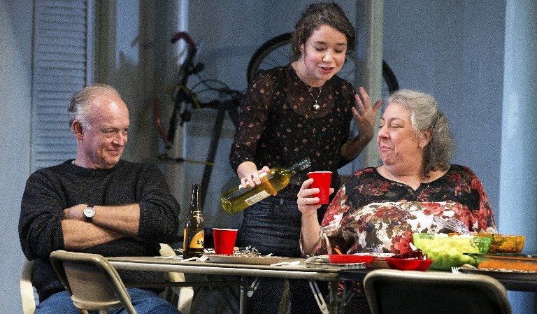 From left: Reed Birney, Sarah Steele and Jayne Houdyshell in Stephen Karam's 'The Humans' at The Laura Pels theater in New York. (Sara Krulwich/New York Times)