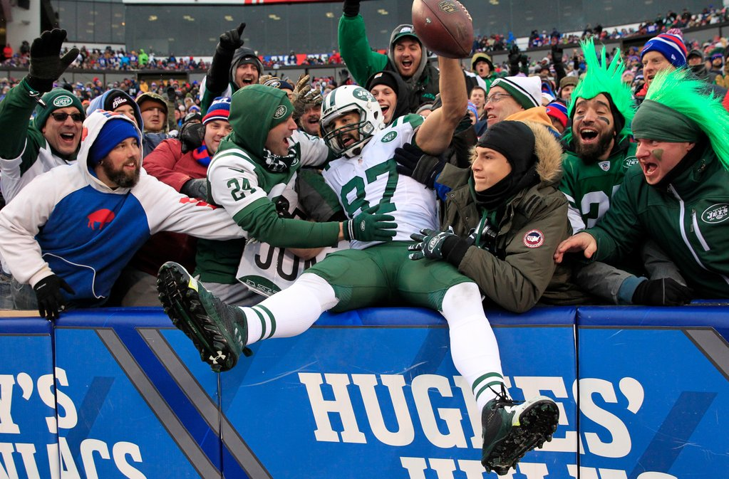 Where was this game played again? There was entertainment in the crowd with plenty of Jets fans, here celebrating with Eric Decker on a touchdown. (Harry Scull Jr./Buffalo News)