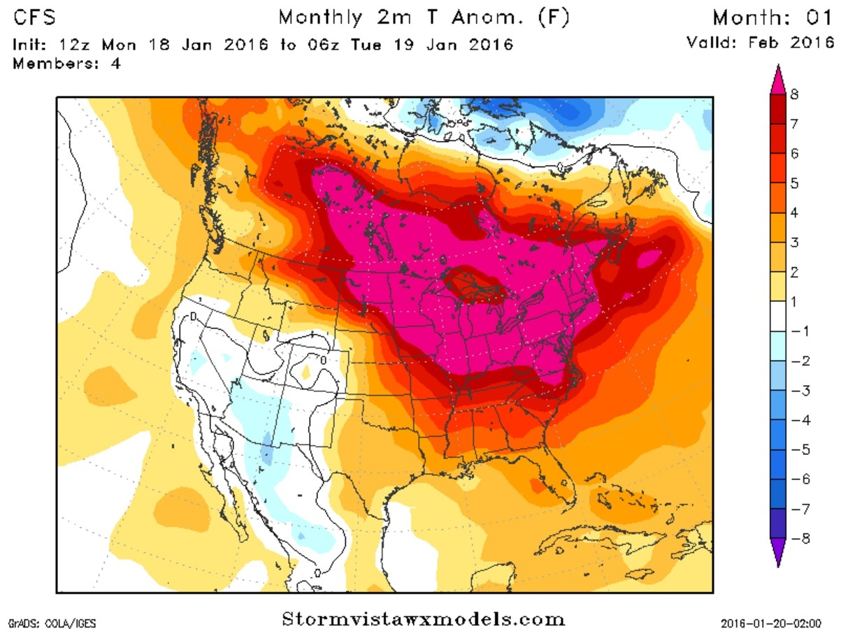 The upper Midwest, Great Lakes and Northeast look unseasonably warm, according to NOAA's Climate Forecast System.