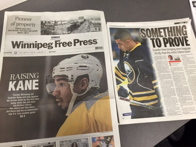 It's all about Evander Kane in today's Winnipeg Free Press (left) and Winnipeg Sun (Mike Harrington/Buffalo News).