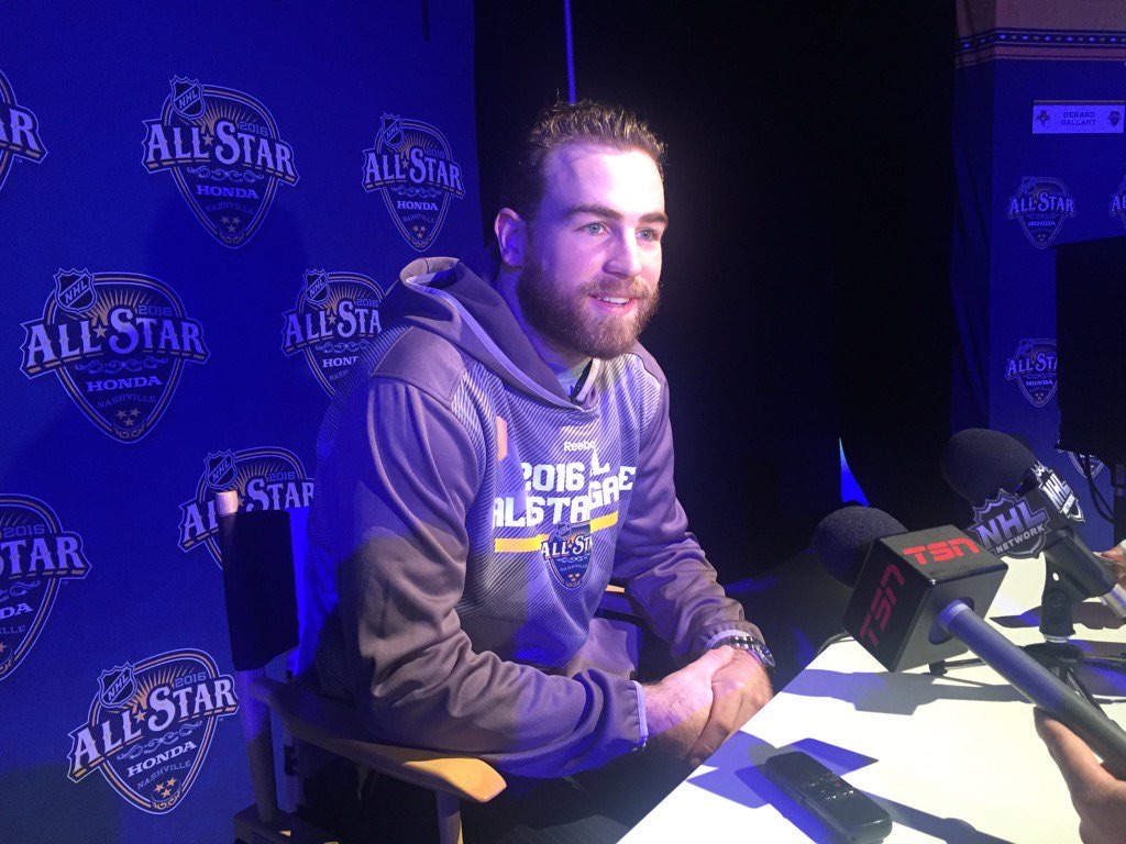 First-time All-Star Ryan O'Reilly meets the media Friday in Bridgestone Arena. (Mike Harrington/Buffalo News)