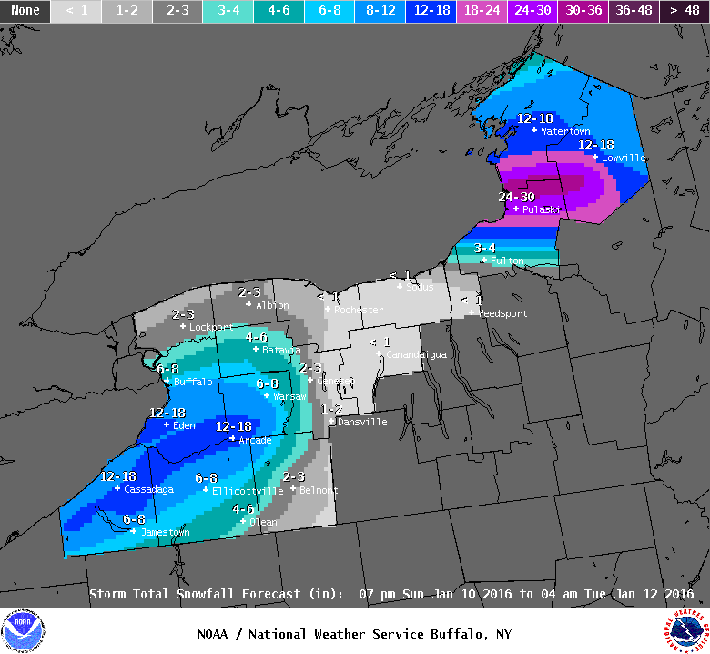 Snowfall totals expected in Western New York between 7 p.m. Sunday and 4 a.m. Tuesday. (National Weather Service)