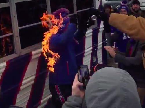 Bills fan jumps on flaming table, sets self on fire – Bills-Jets Tailgate Report