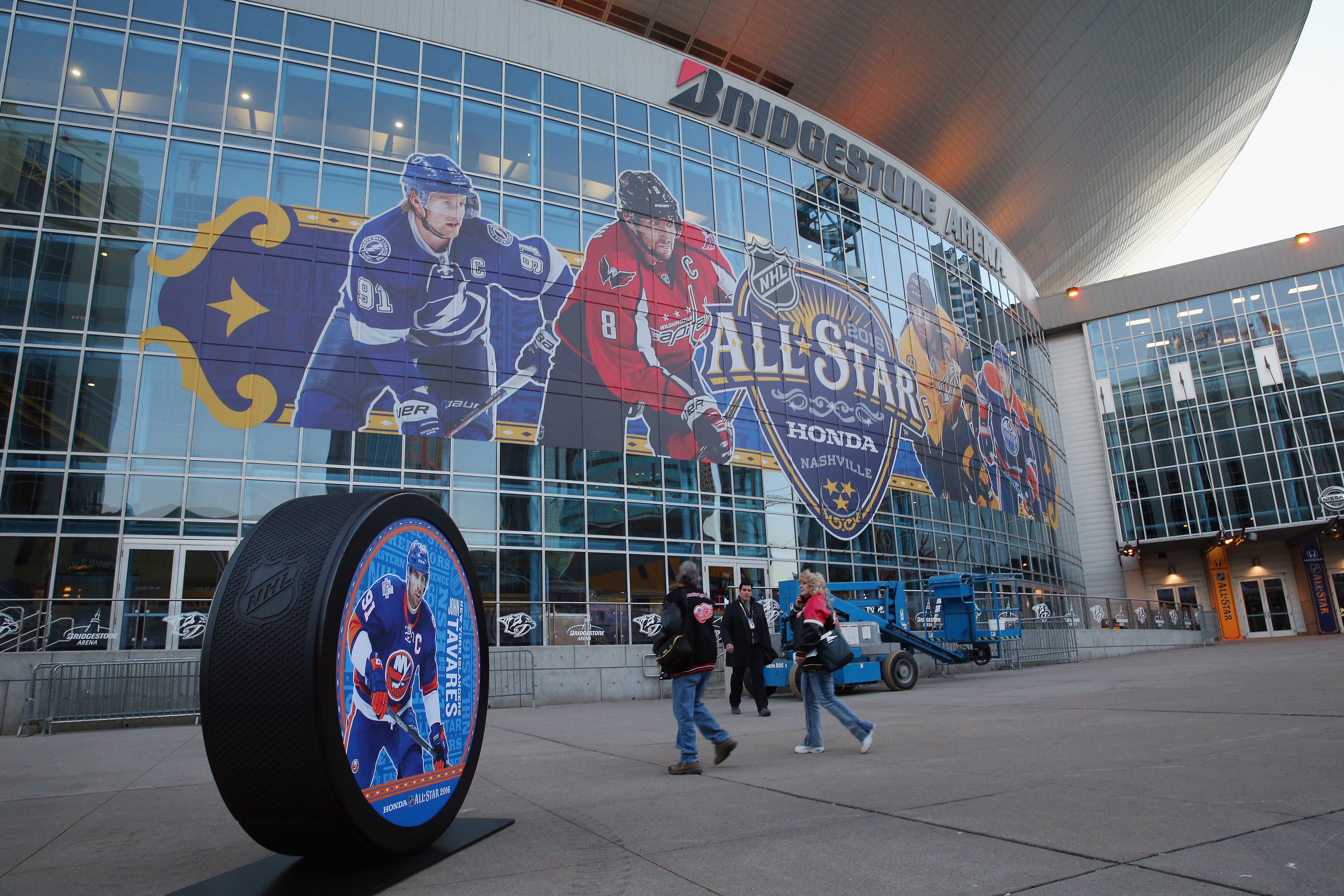 Nashville's Bridgestone Arena is set for All-Star festivities even though one of the players on its marquee -- Washington's Alex Ovechkin -- decided he's not (Getty Images).