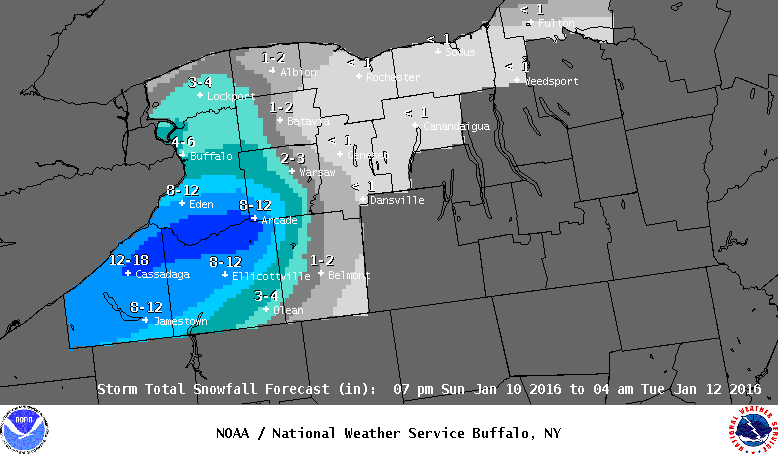 Revised snowfall forecasts through 4 a.m. Tuesday show the Buffalo metro area and Northtowns receiving several inches of snow with the passage of a clipper system through the region later today. (National Weather Service)