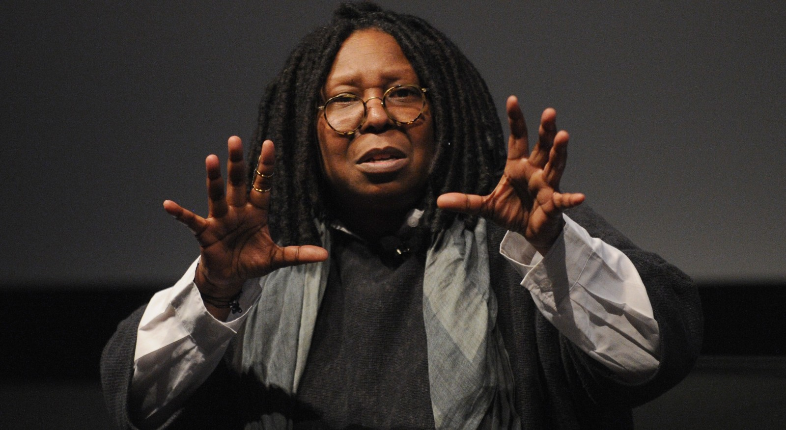 Whoopi is just talking with her hands, not casting a spell. (Getty Images)