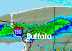 The Northtowns were getting belted with snow about 9 p.m. (NWS radar image)