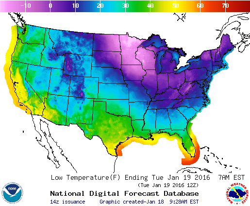 Frigid Arctic air will grip areas from the Dakotas to Maine over the next couple of days. (NWS)