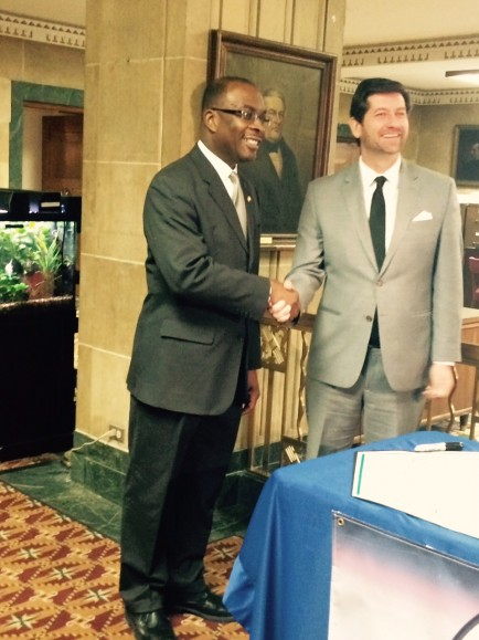Mayor Brown and County Exec Poloncarz shake hands after signing Opportunity Pledge