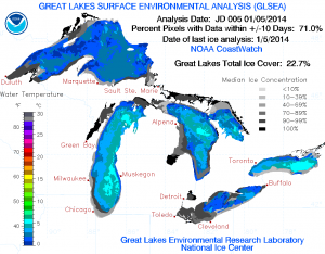 Two years ago, nearly 40 percent of Lake Erie was already ice covered as of Jan. 5 heading into the first of two blizzards that winter. (NOAA GLERL)