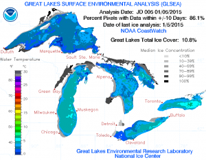 More than 10 percent of the lakes were ice-covered last year. (NOAA GLERL)